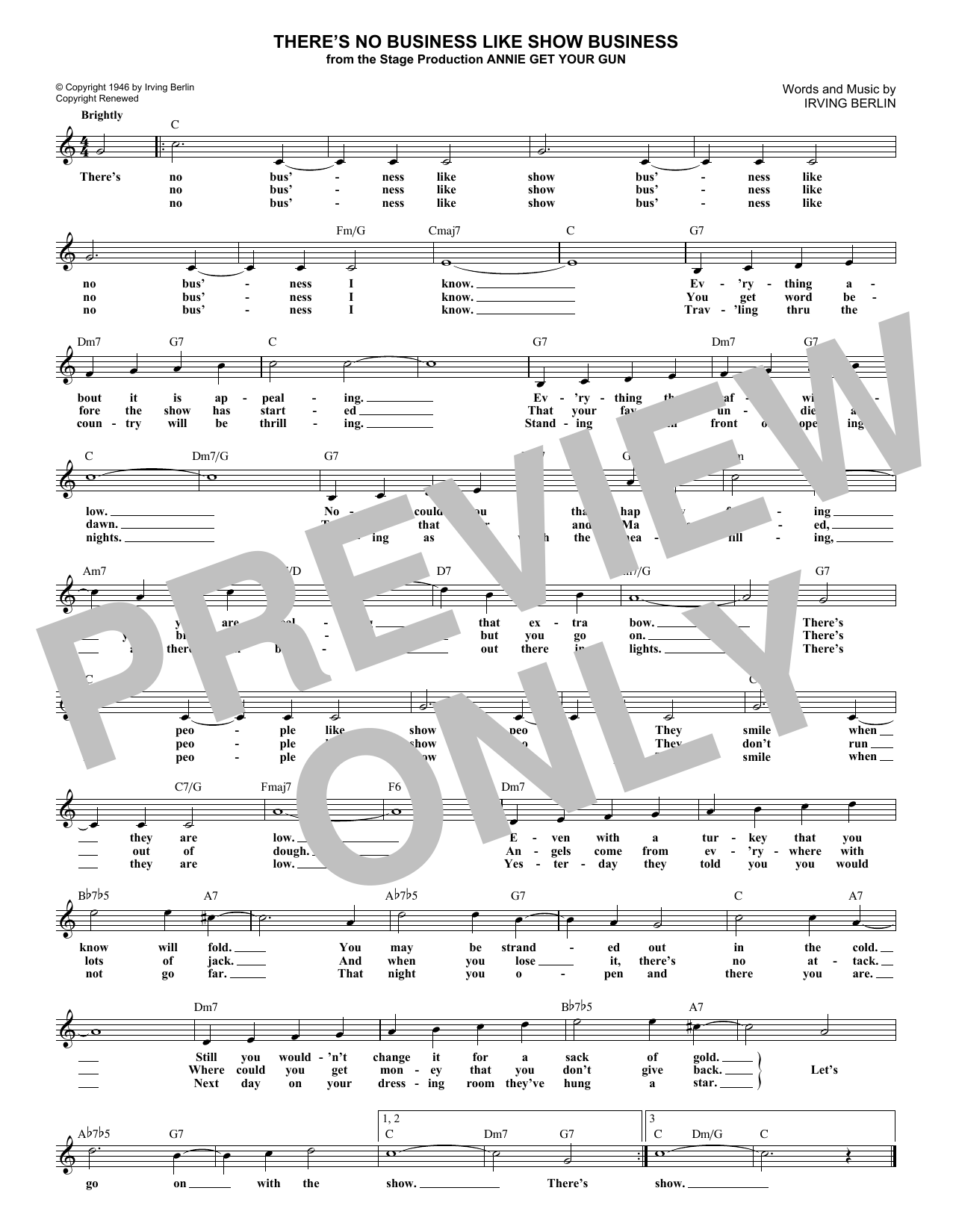 There's No Business Like Show Business (Lead Sheet / Fake Book)