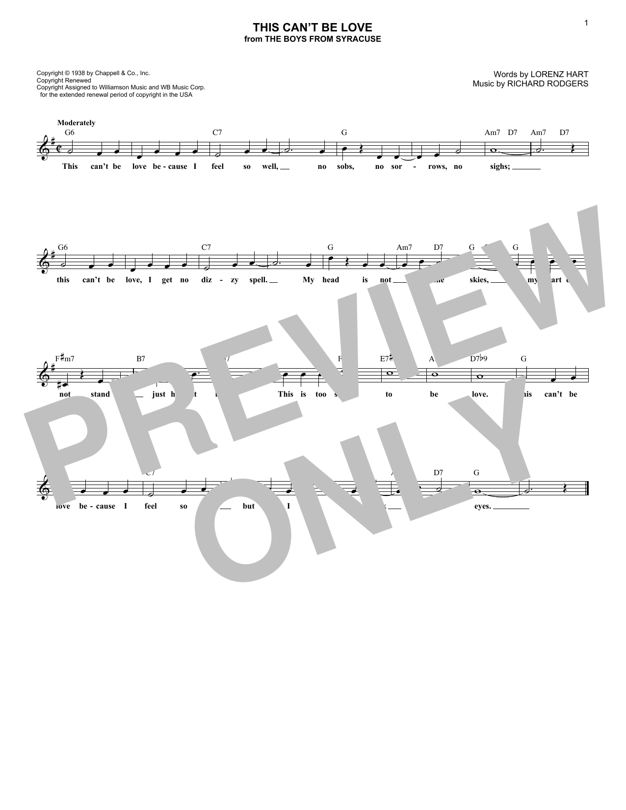 This Can't Be Love (Lead Sheet / Fake Book)
