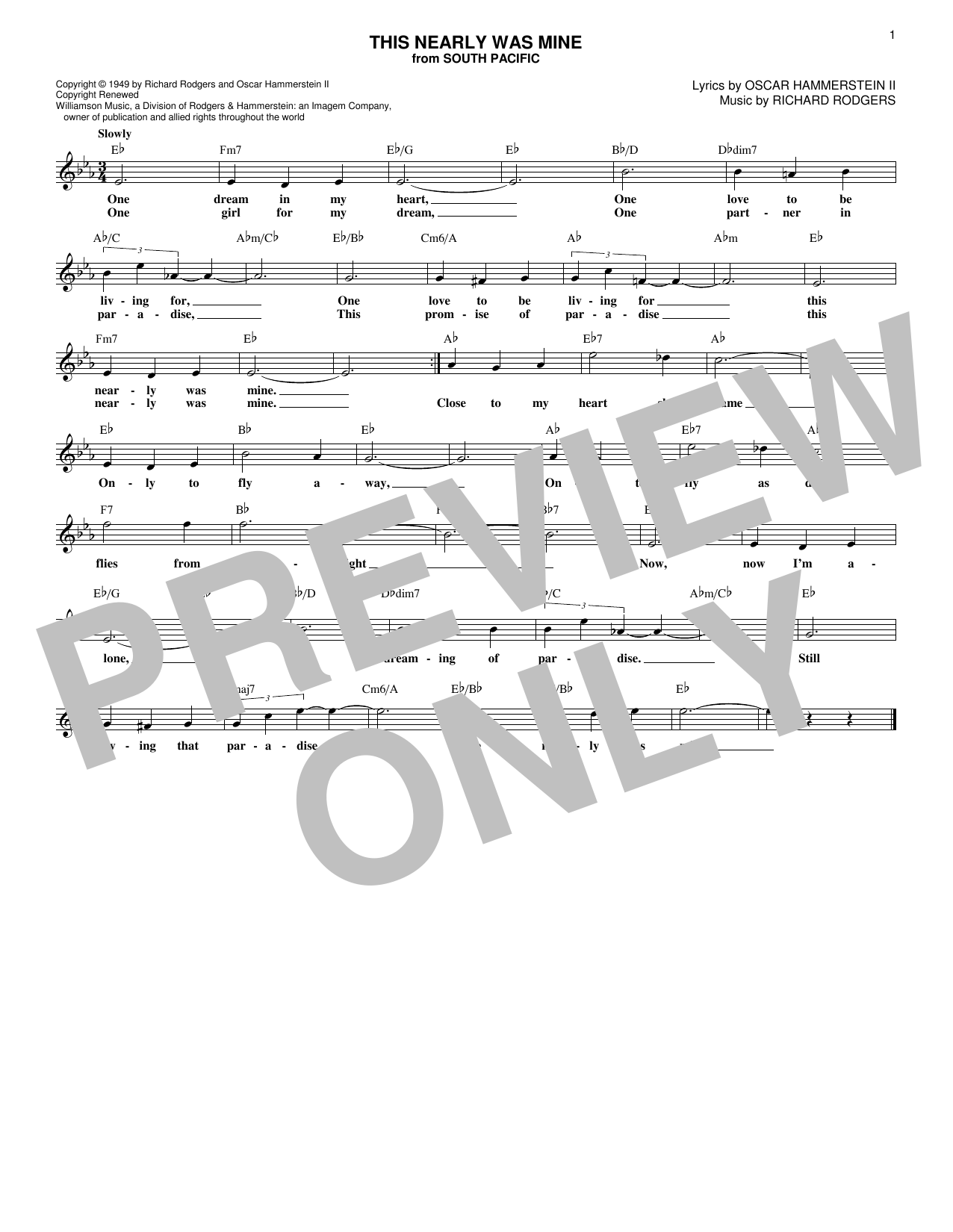This Nearly Was Mine (Lead Sheet / Fake Book)