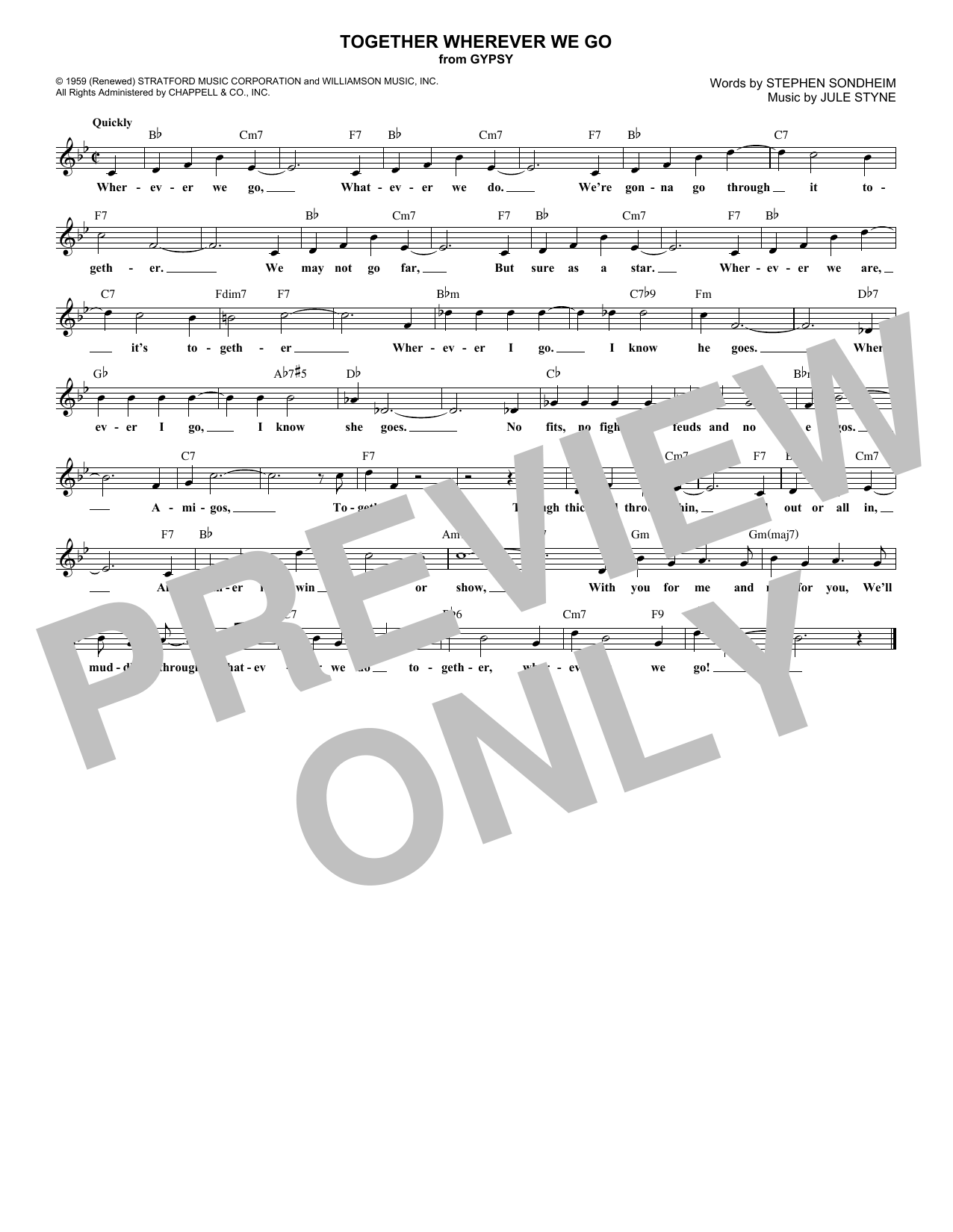 Together Wherever We Go (Lead Sheet / Fake Book)