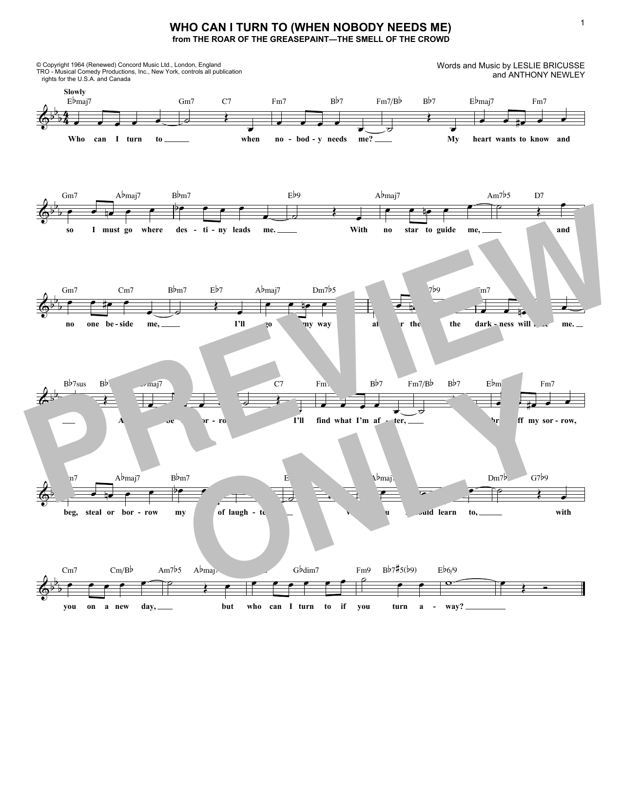 Who Can I Turn To (When Nobody Needs Me) (Lead Sheet / Fake Book)