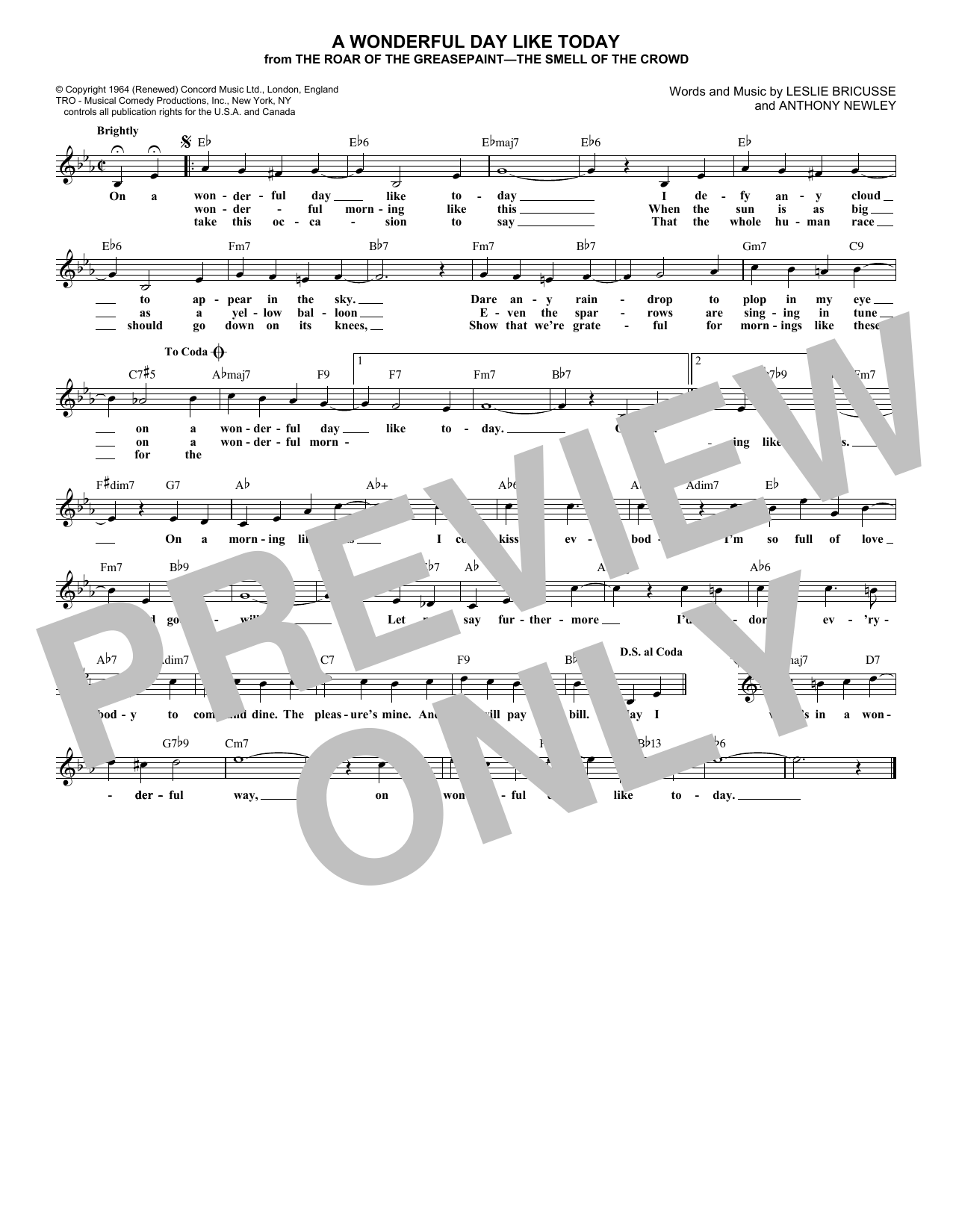 A Wonderful Day Like Today (Lead Sheet / Fake Book)