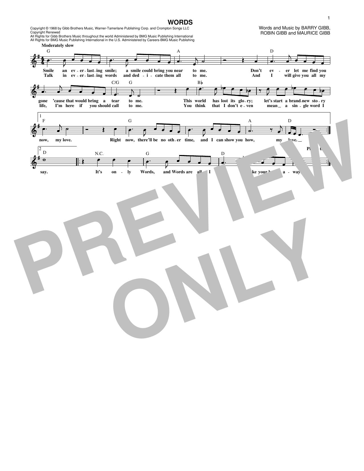 Partition piano Words de Bee Gees - Lead Sheet