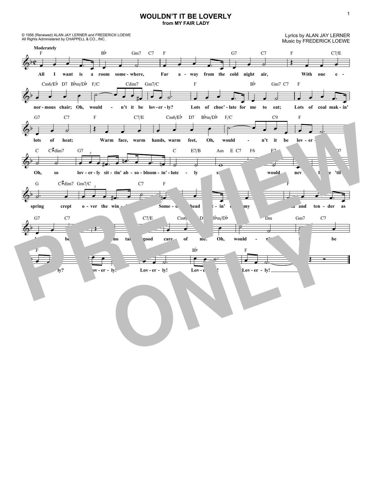 Wouldn't It Be Loverly (Lead Sheet / Fake Book)