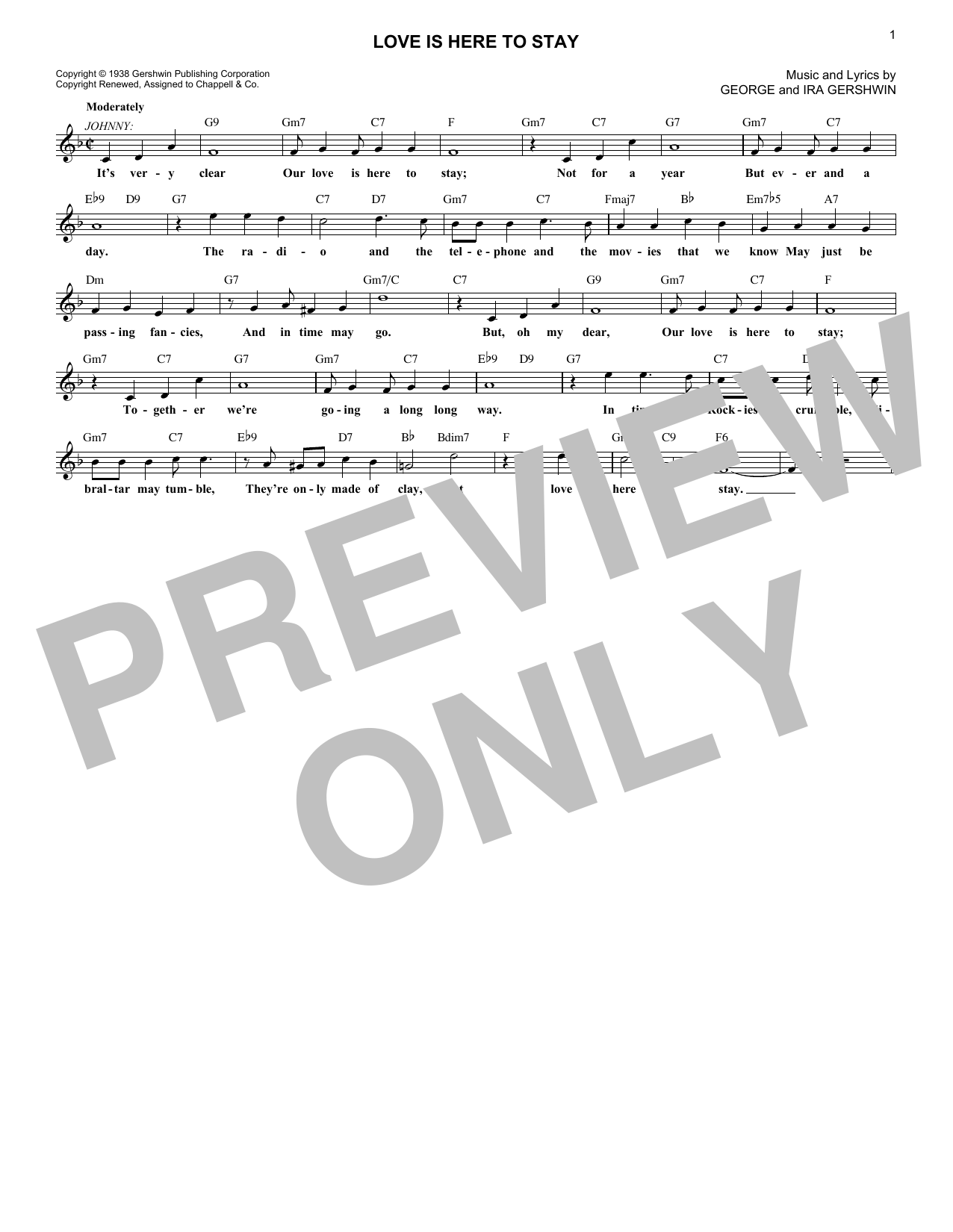 Love Is Here To Stay (Lead Sheet / Fake Book)