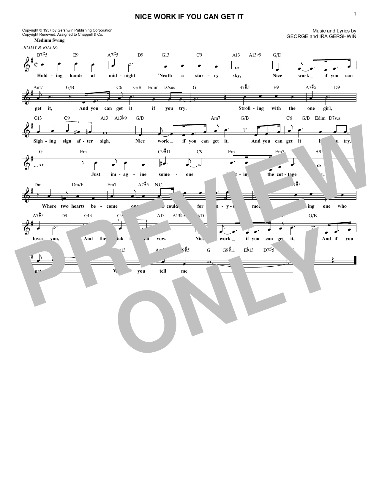 Nice Work If You Can Get It (Lead Sheet / Fake Book)