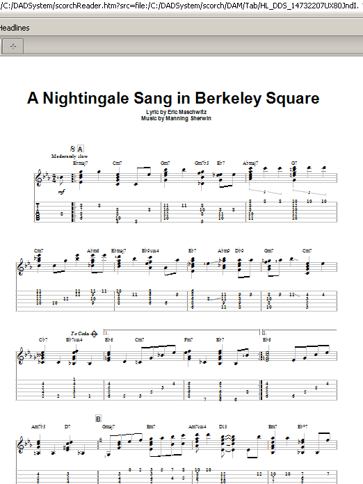 Tablature guitare A Nightingale Sang In Berkeley Square de Manhattan Transfer - Tablature Guitare