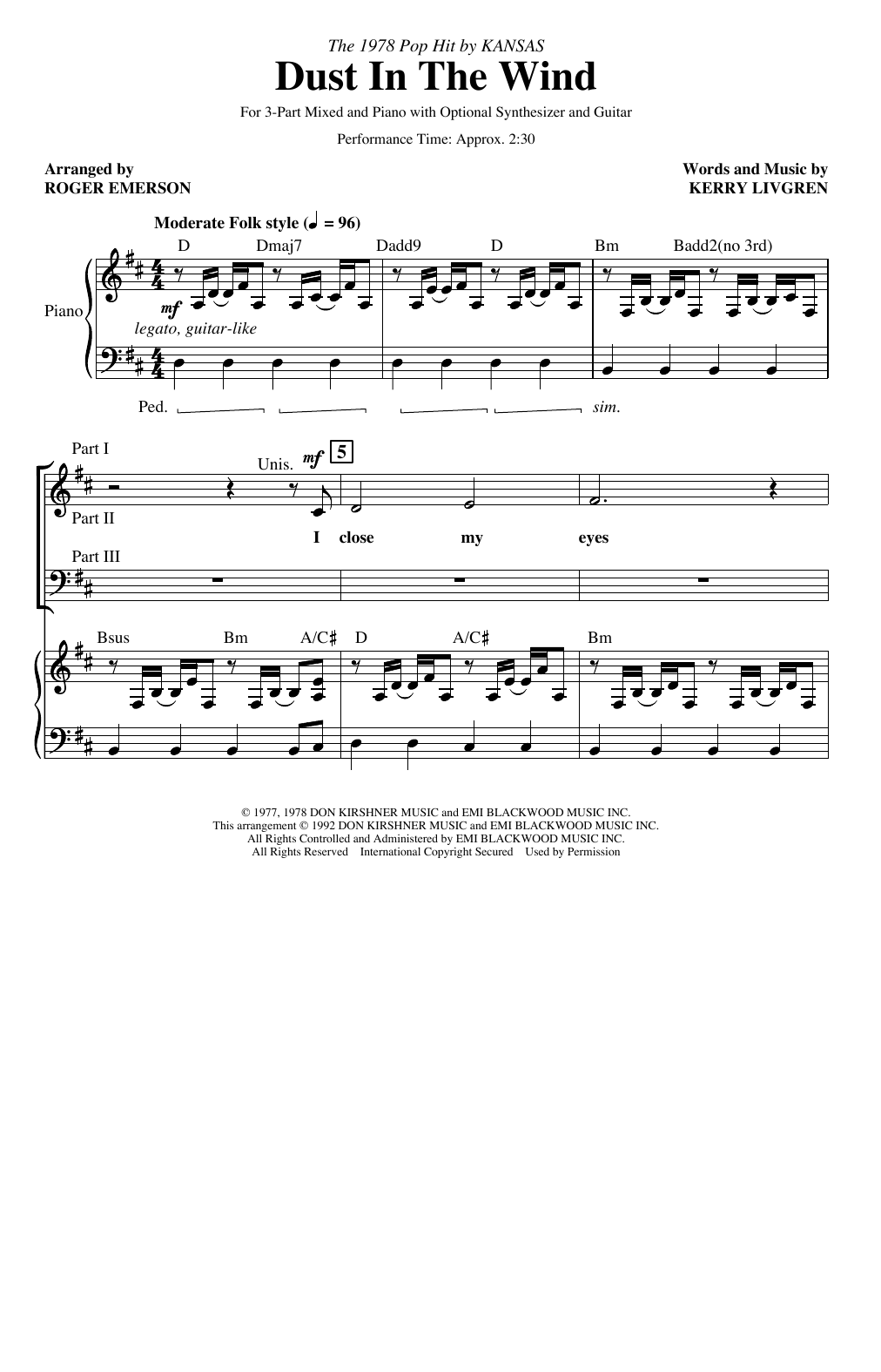 Dust In The Wind (arr. Roger Emerson) (3-Part Mixed Choir)