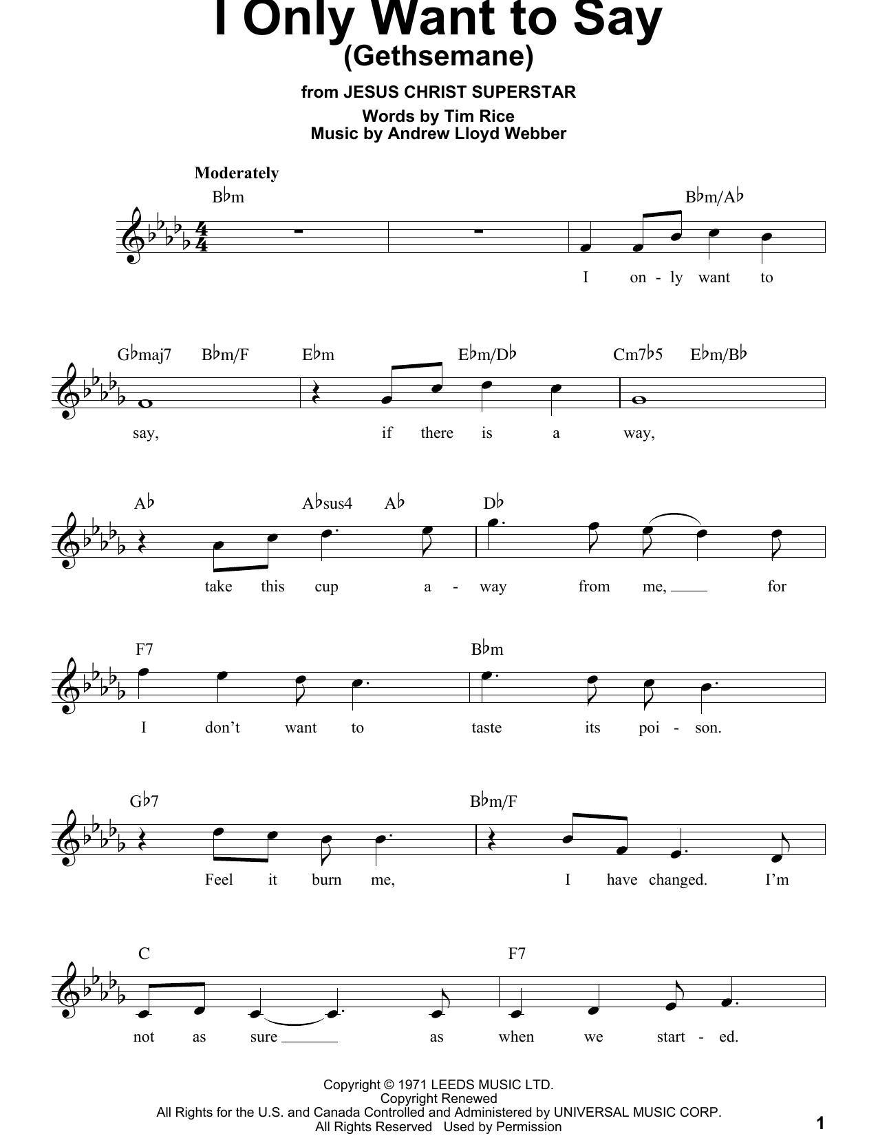 I Only Want To Say (Gethsemane) Sheet Music