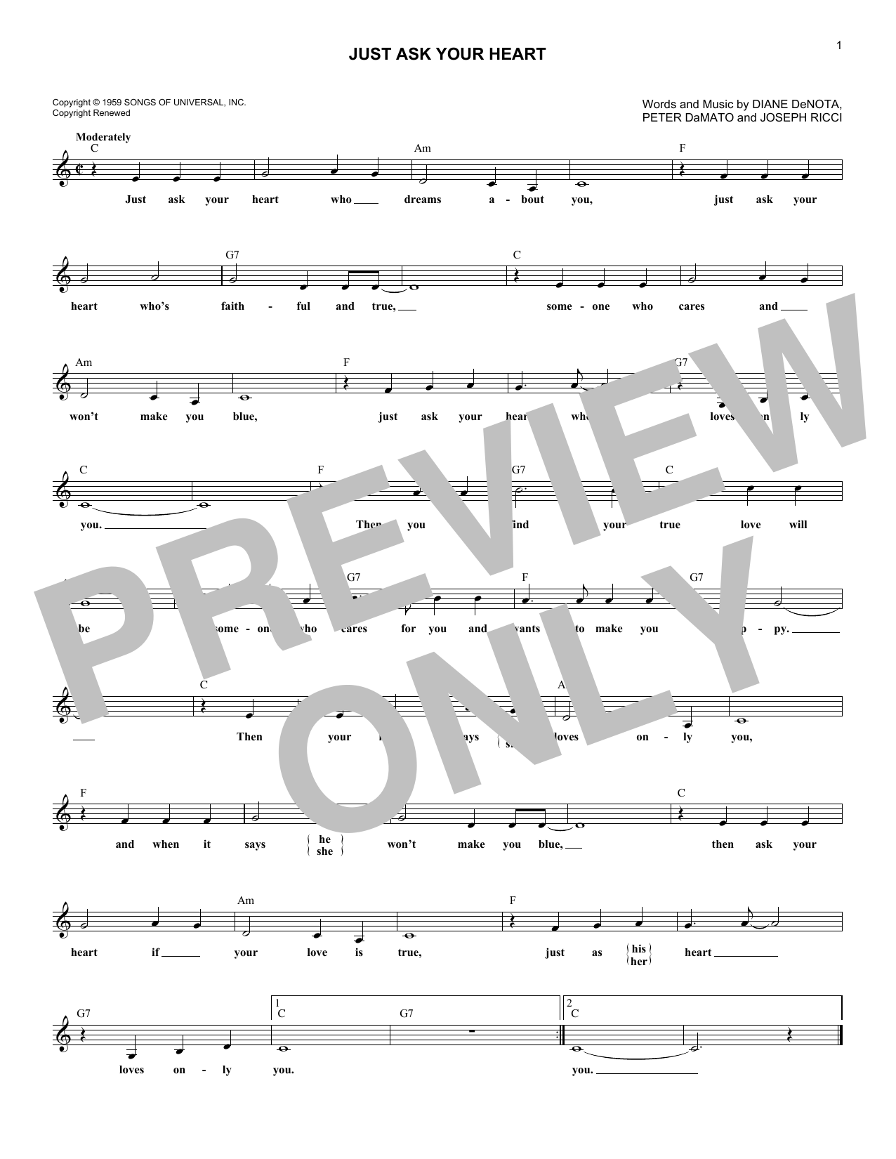 Just Ask Your Heart (Lead Sheet / Fake Book)