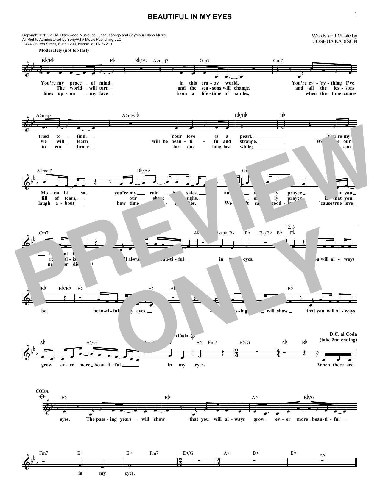 Beautiful In My Eyes Sheet Music