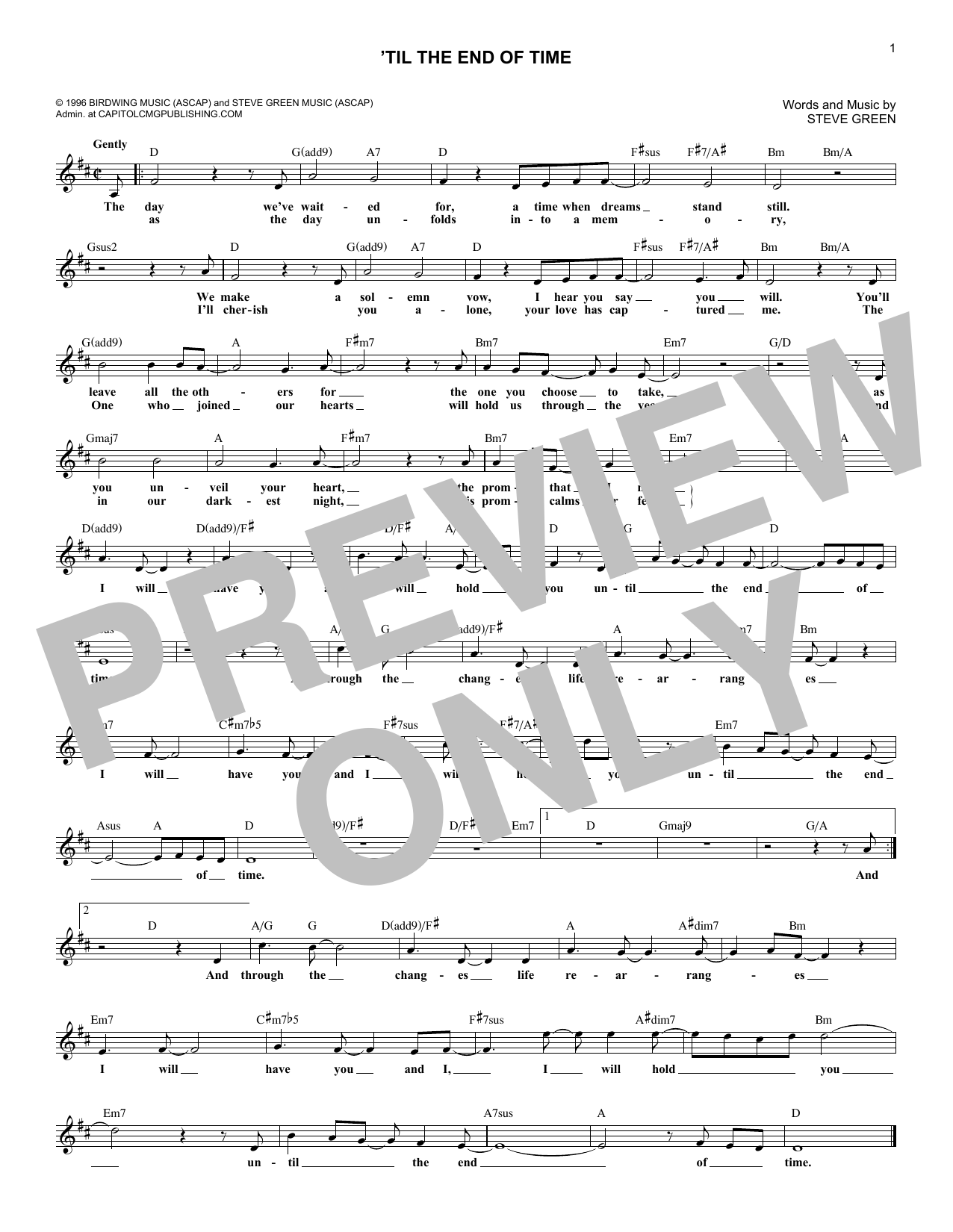 'Til The End Of Time (Lead Sheet / Fake Book)