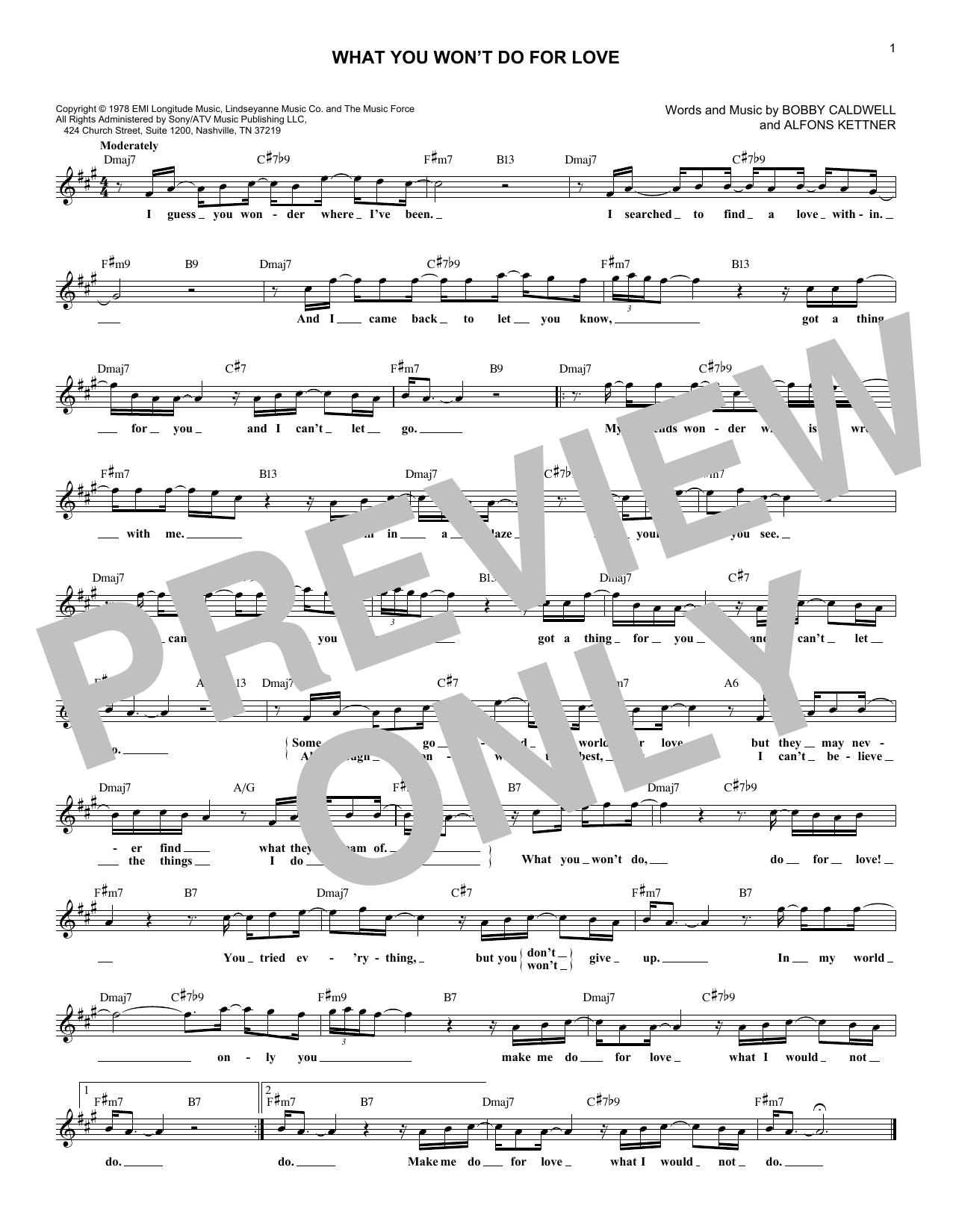 What You Won't Do For Love (Lead Sheet / Fake Book)