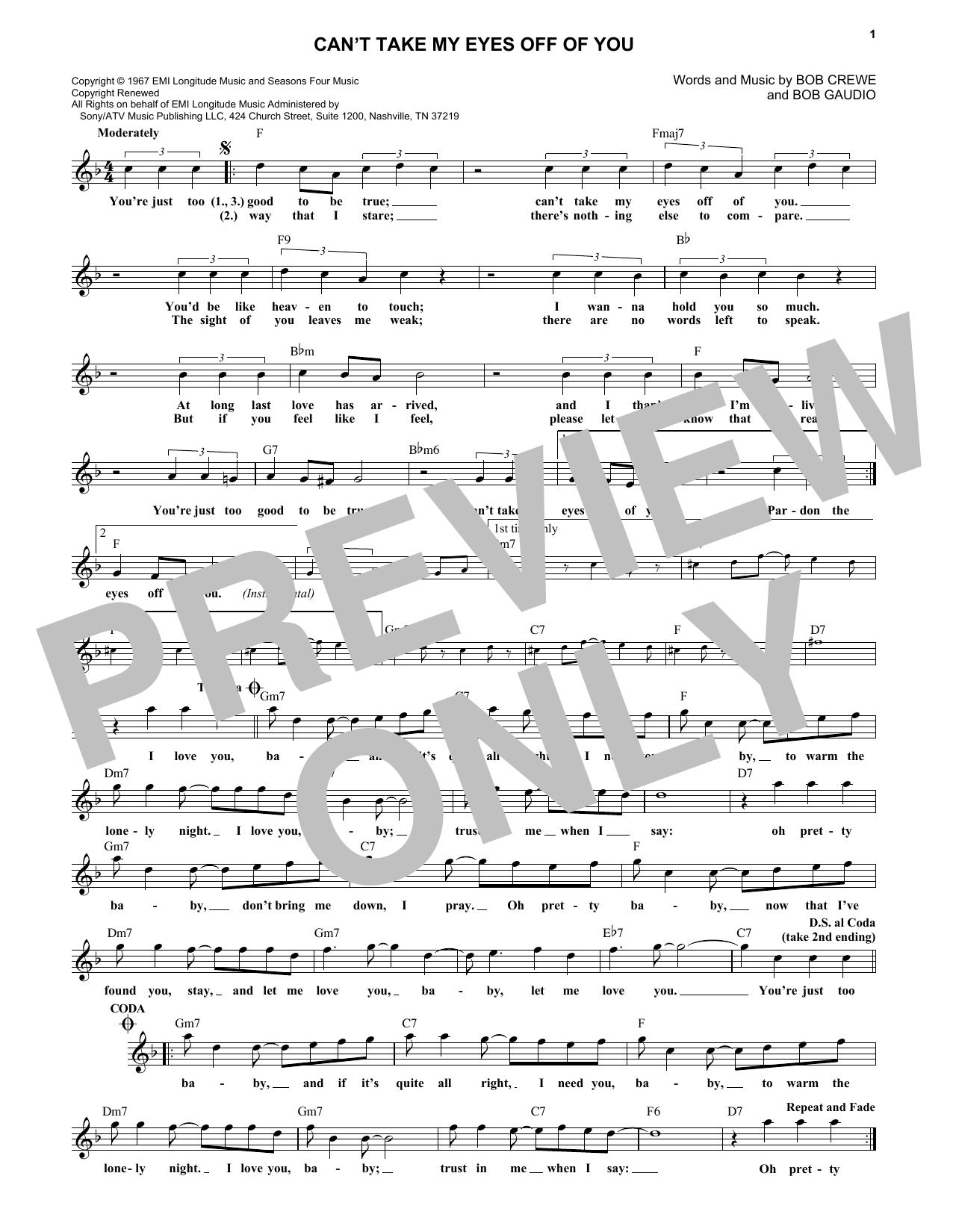 Can't Take My Eyes Off Of You (Lead Sheet / Fake Book)