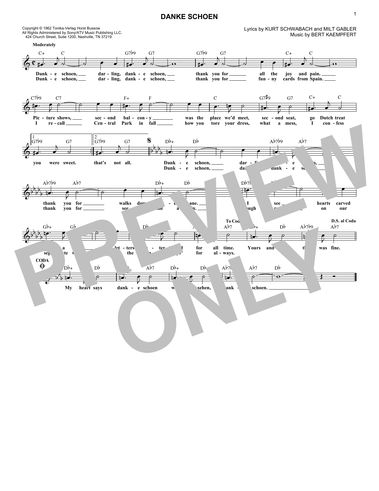 Danke Schoen (Lead Sheet / Fake Book)
