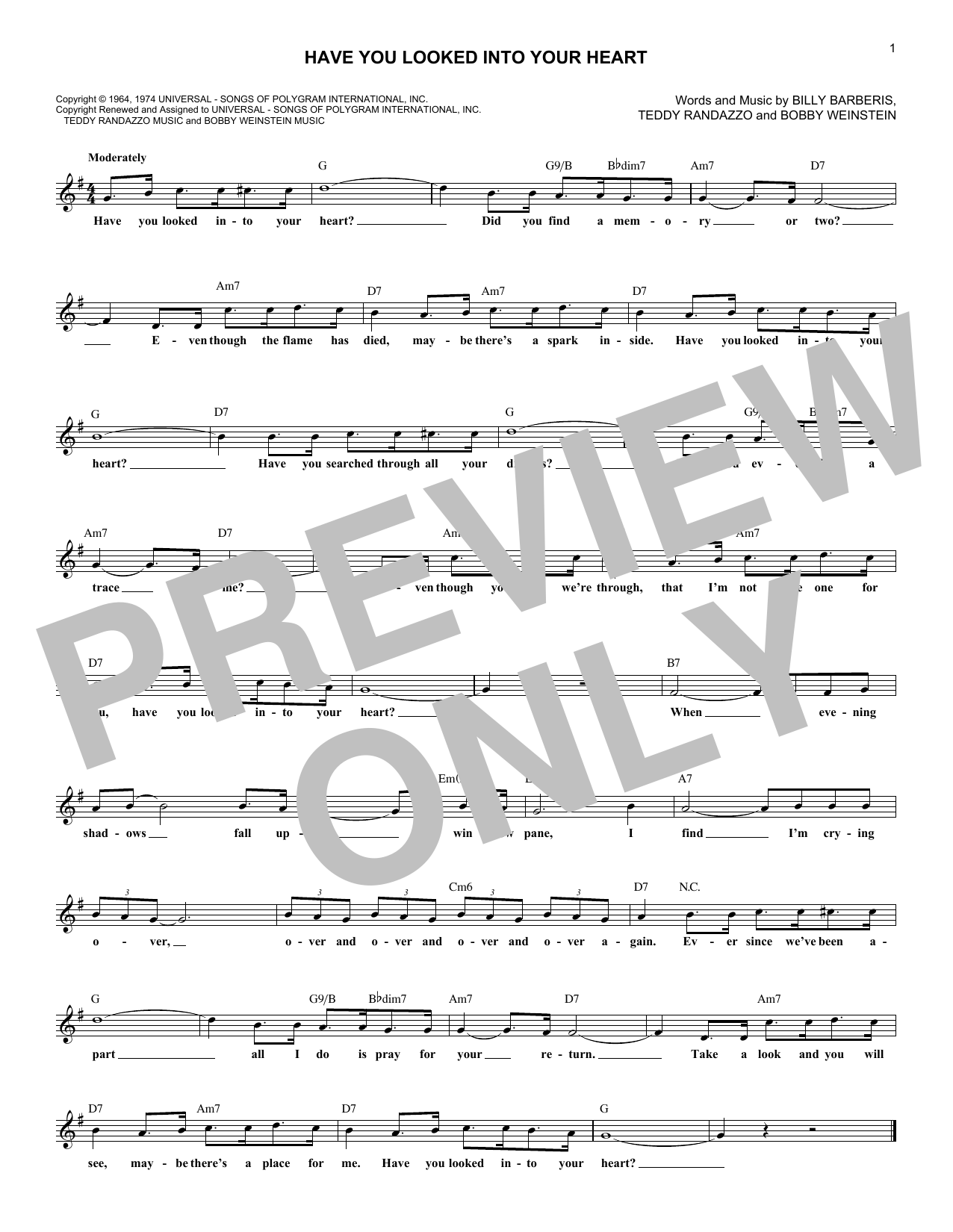 Have You Looked Into Your Heart (Lead Sheet / Fake Book)