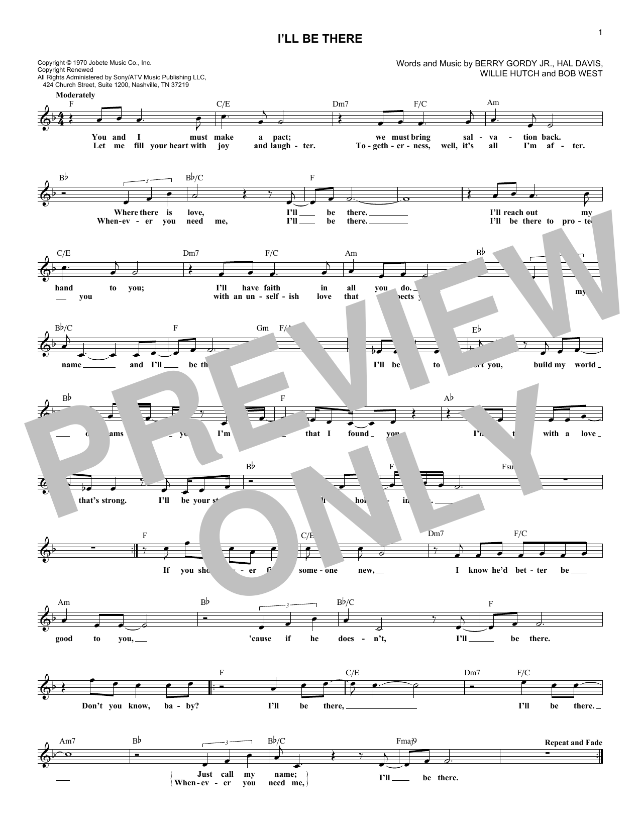 I'll Be There (Lead Sheet / Fake Book)