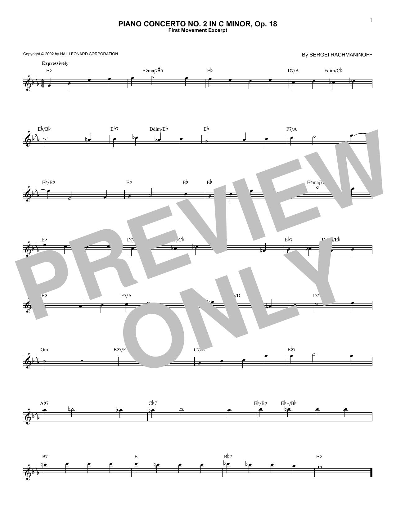 Piano Concerto No. 2 In C Minor, Op. 18 (Lead Sheet / Fake Book)