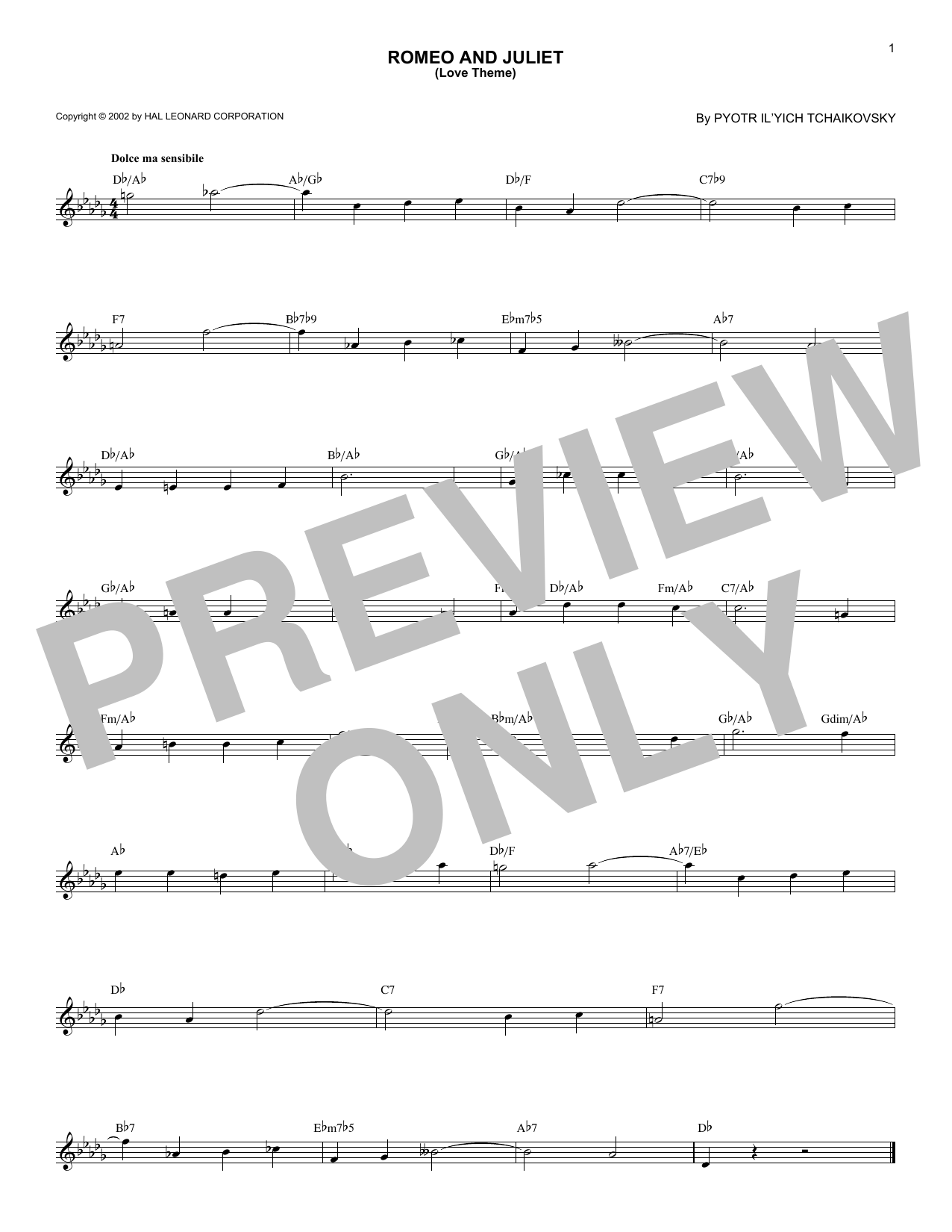 Romeo And Juliet (Love Theme) (Lead Sheet / Fake Book)