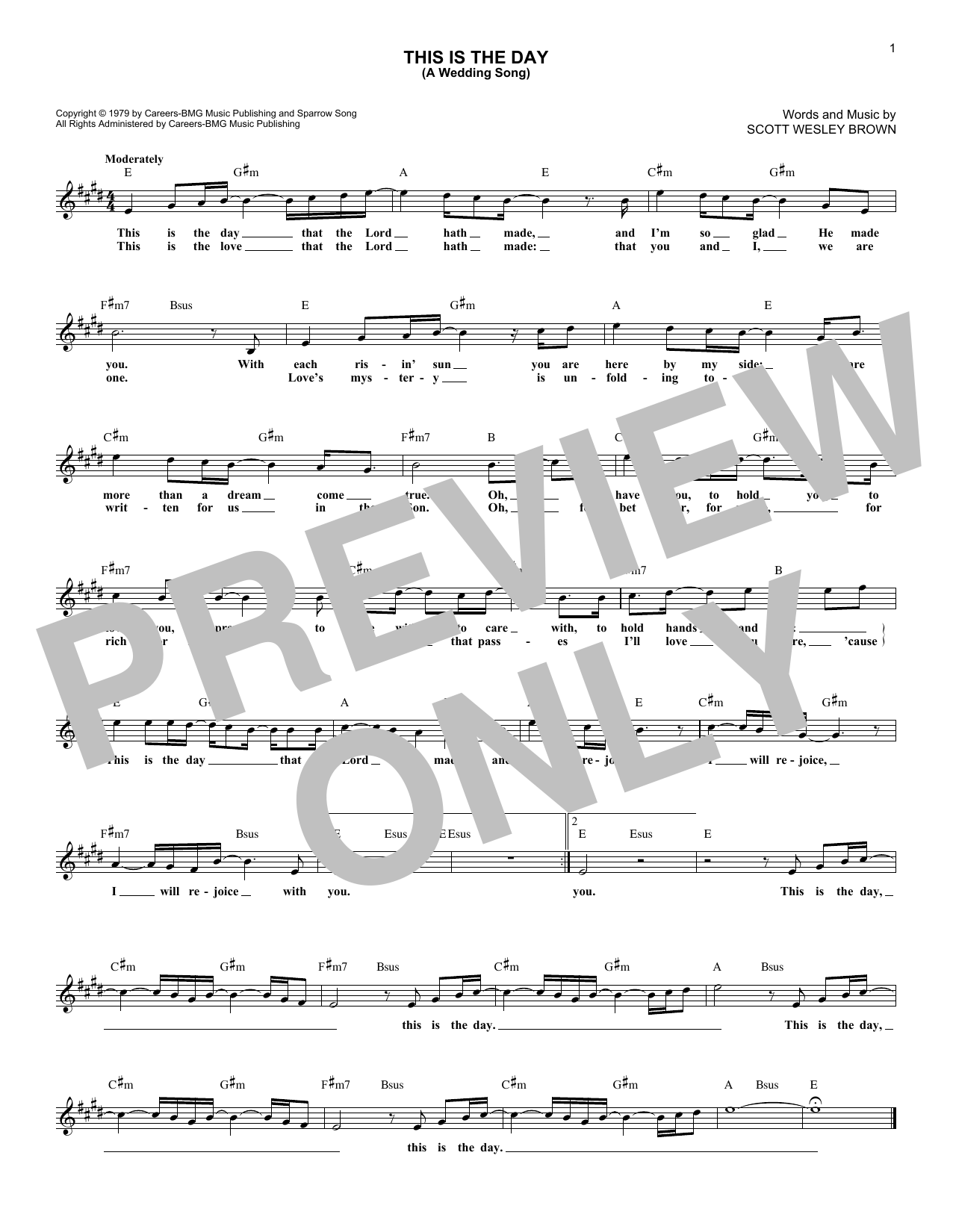 This Is The Day (A Wedding Song) (Lead Sheet / Fake Book)