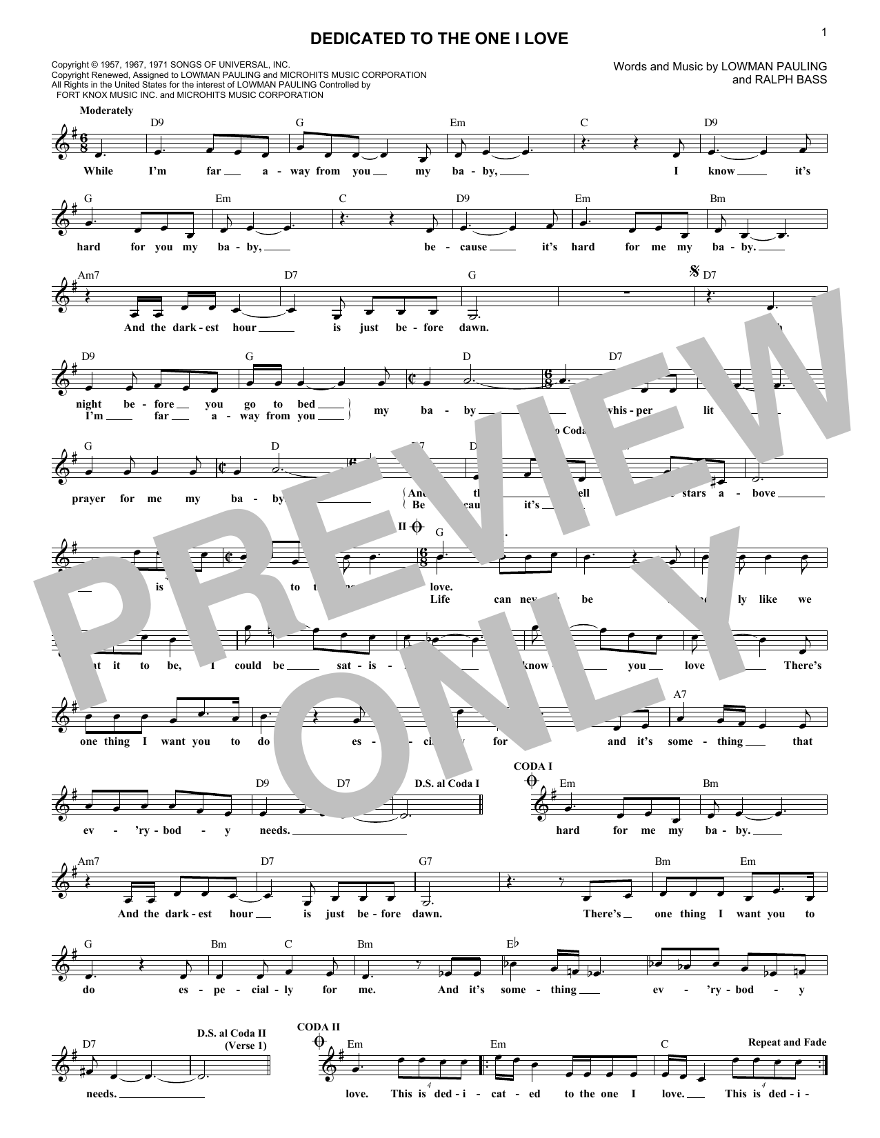 Dedicated To The One I Love (Lead Sheet / Fake Book)