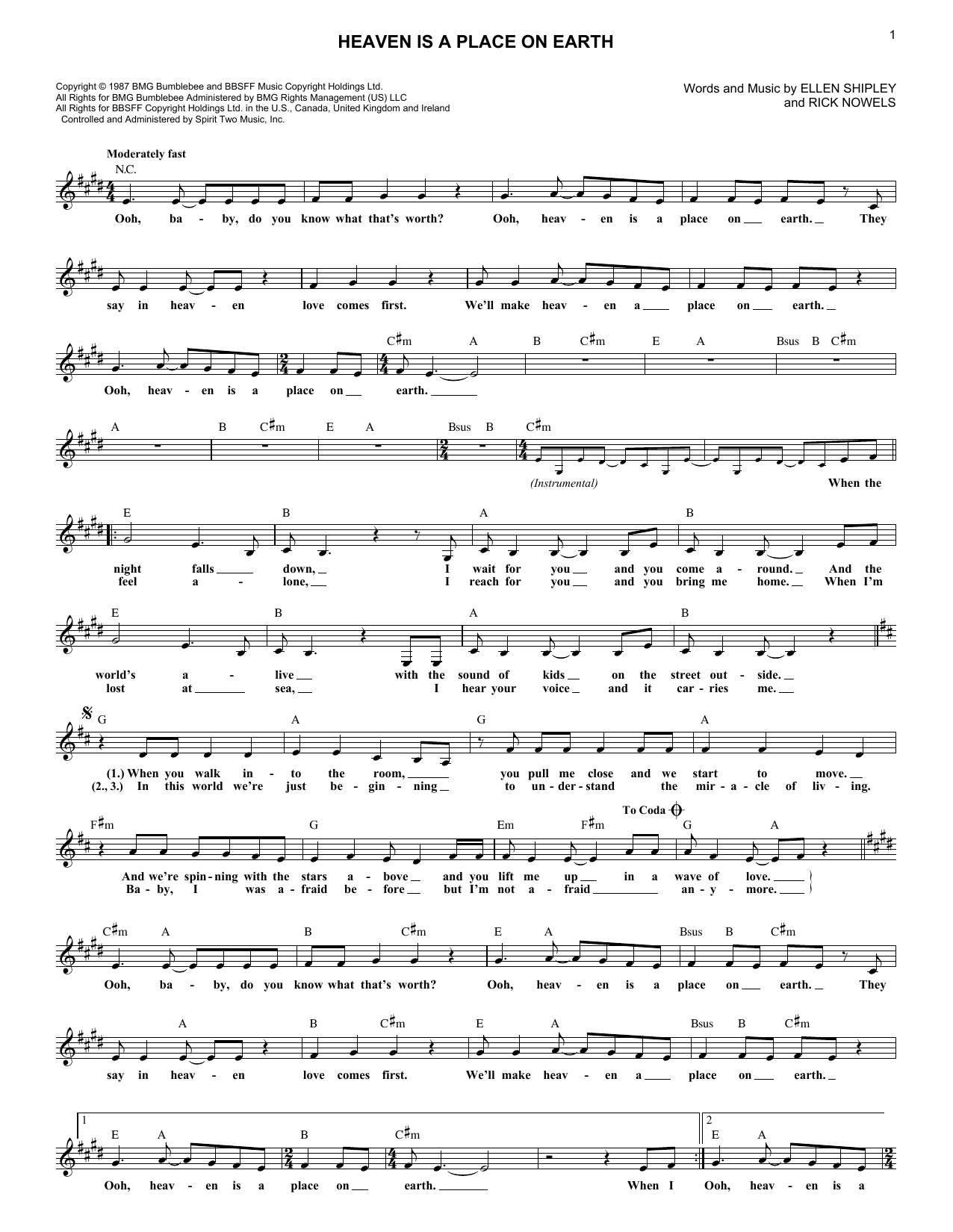 Heaven Is A Place On Earth (Lead Sheet / Fake Book)