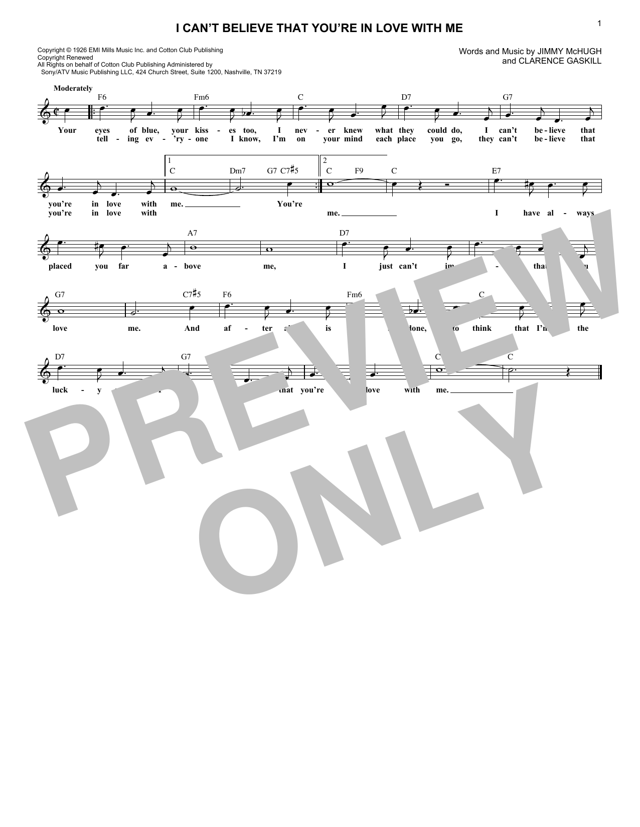 I Can't Believe That You're In Love With Me (Lead Sheet / Fake Book)