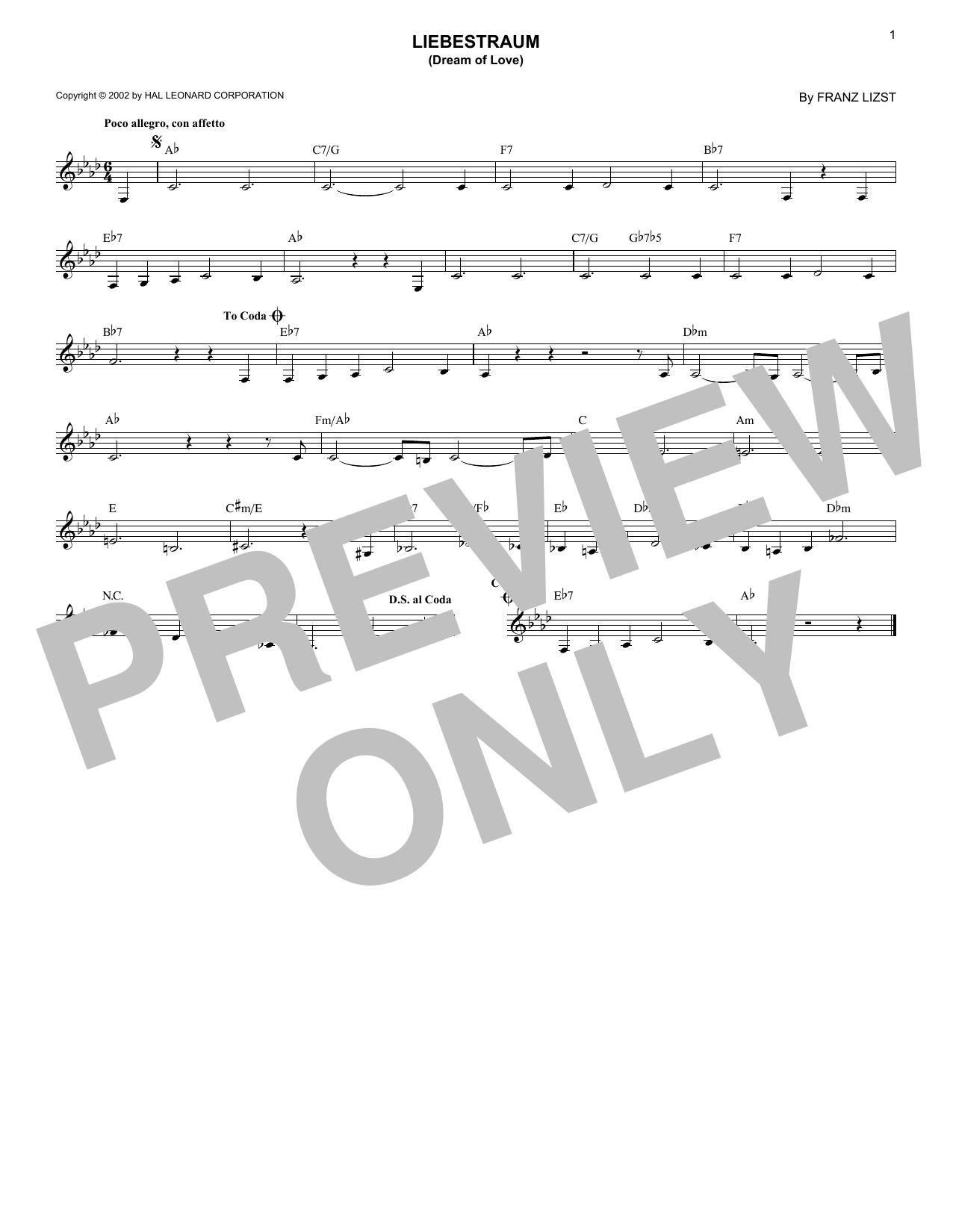 Liebestraum No. 3 (Dream Of Love) (Lead Sheet / Fake Book)