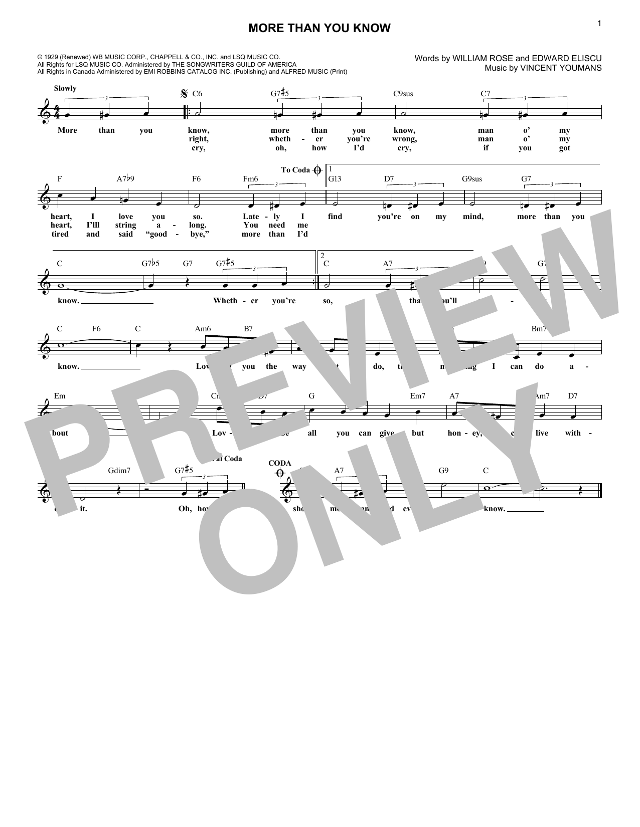More Than You Know (Lead Sheet / Fake Book)