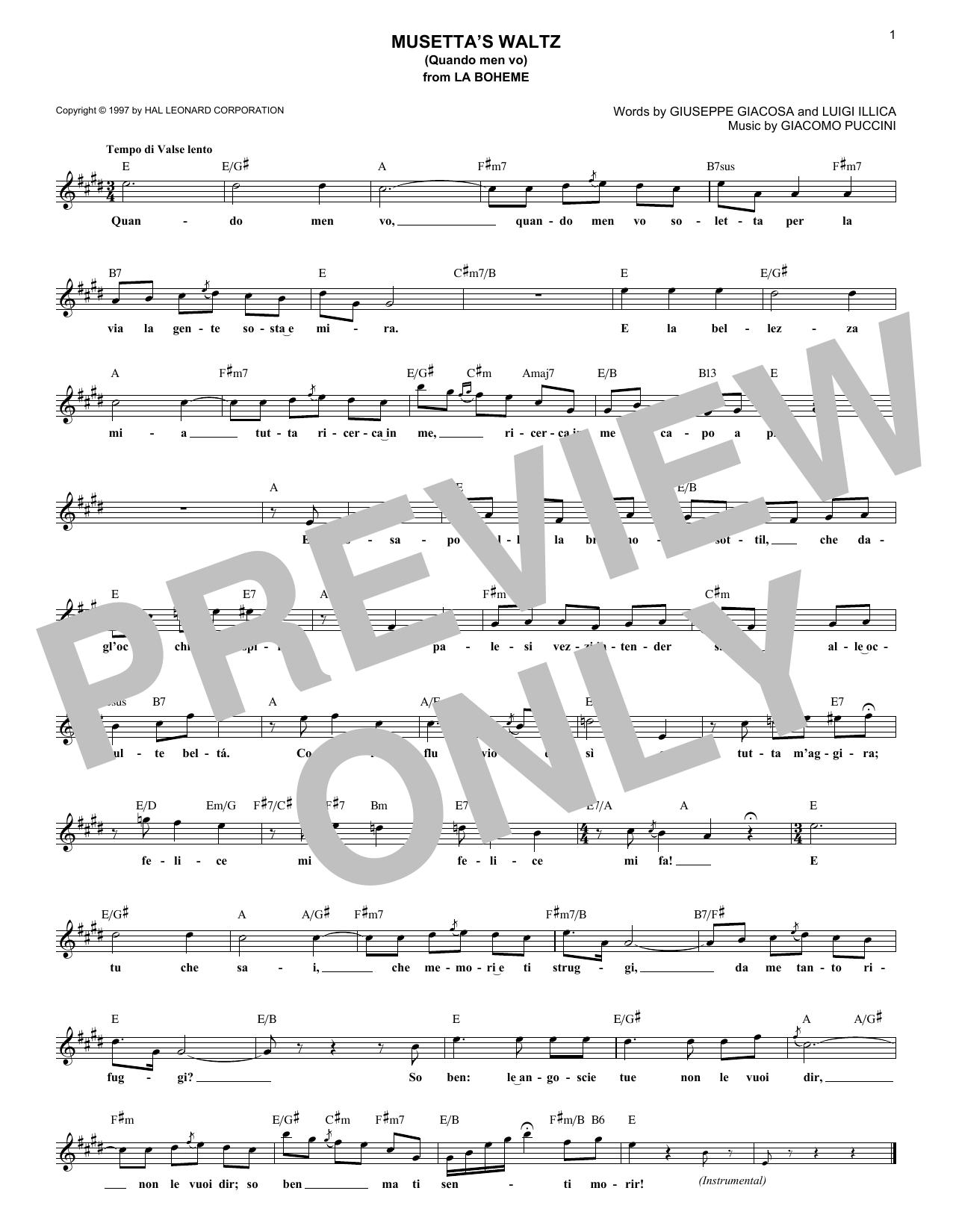 Musetta's Waltz (Quando Men Vo) (Lead Sheet / Fake Book)