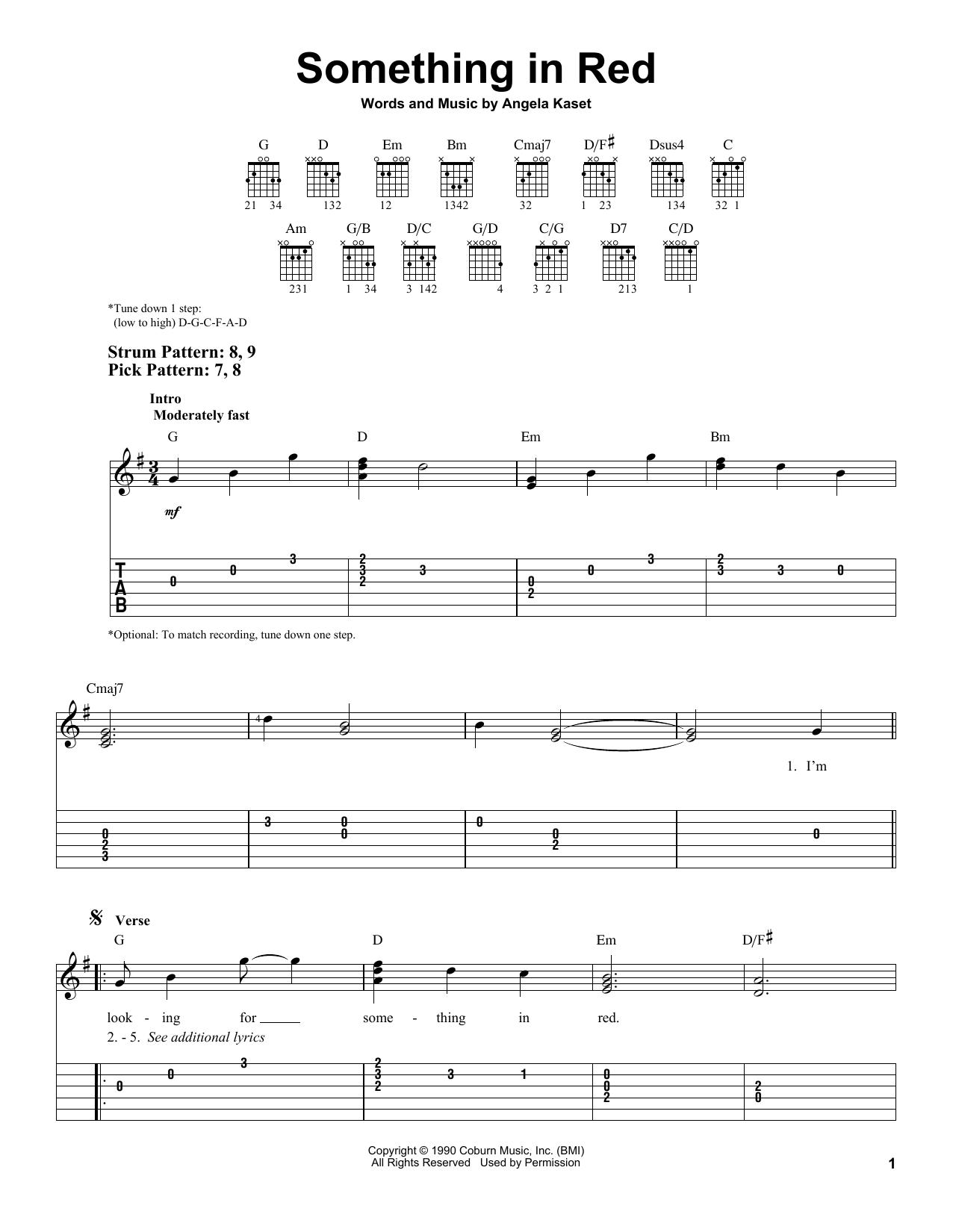 Something In Red (Easy Guitar Tab)