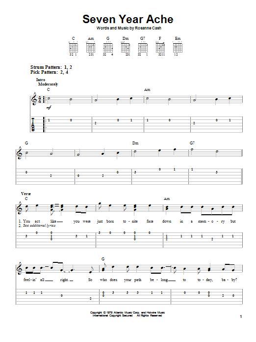 Seven Year Ache (Easy Guitar Tab)