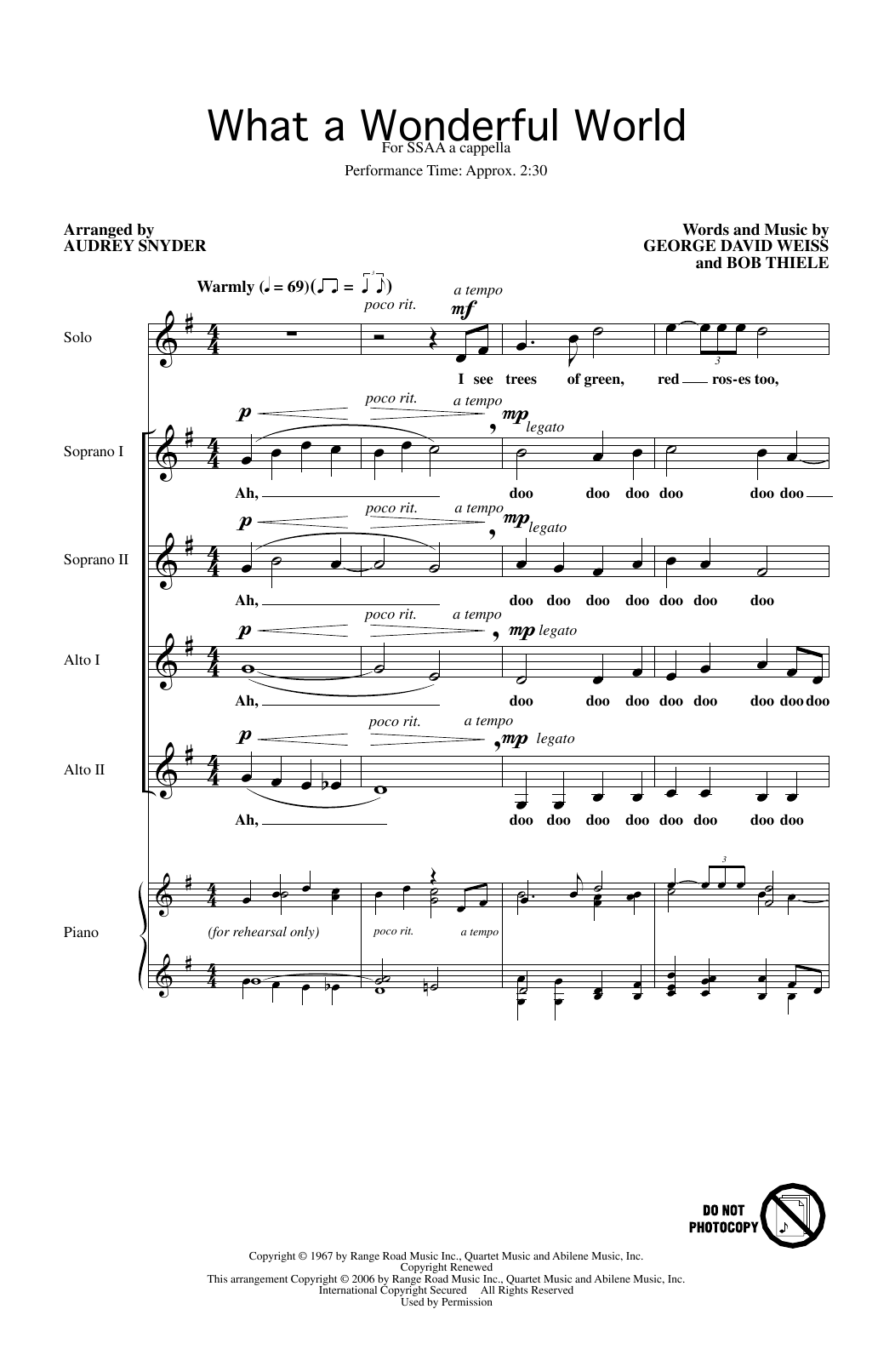 What A Wonderful World (arr. Audrey Snyder) (SSAA Choir)