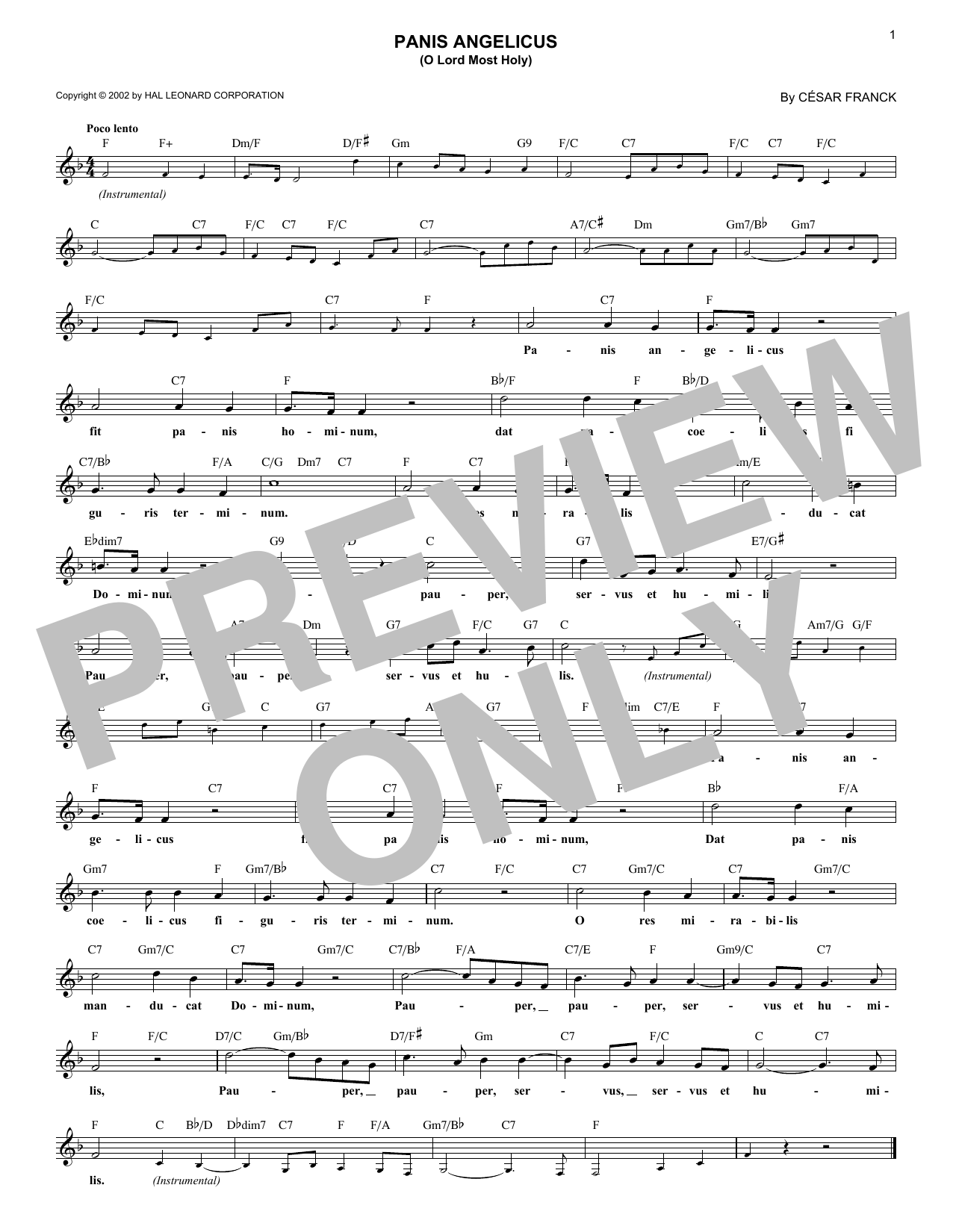 Panis Angelicus (O Lord Most Holy) (Lead Sheet / Fake Book)