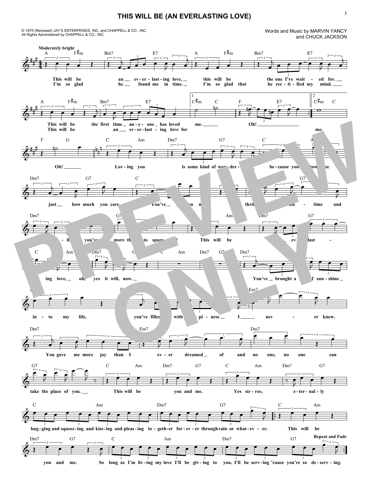 This Will Be (An Everlasting Love) (Lead Sheet / Fake Book)