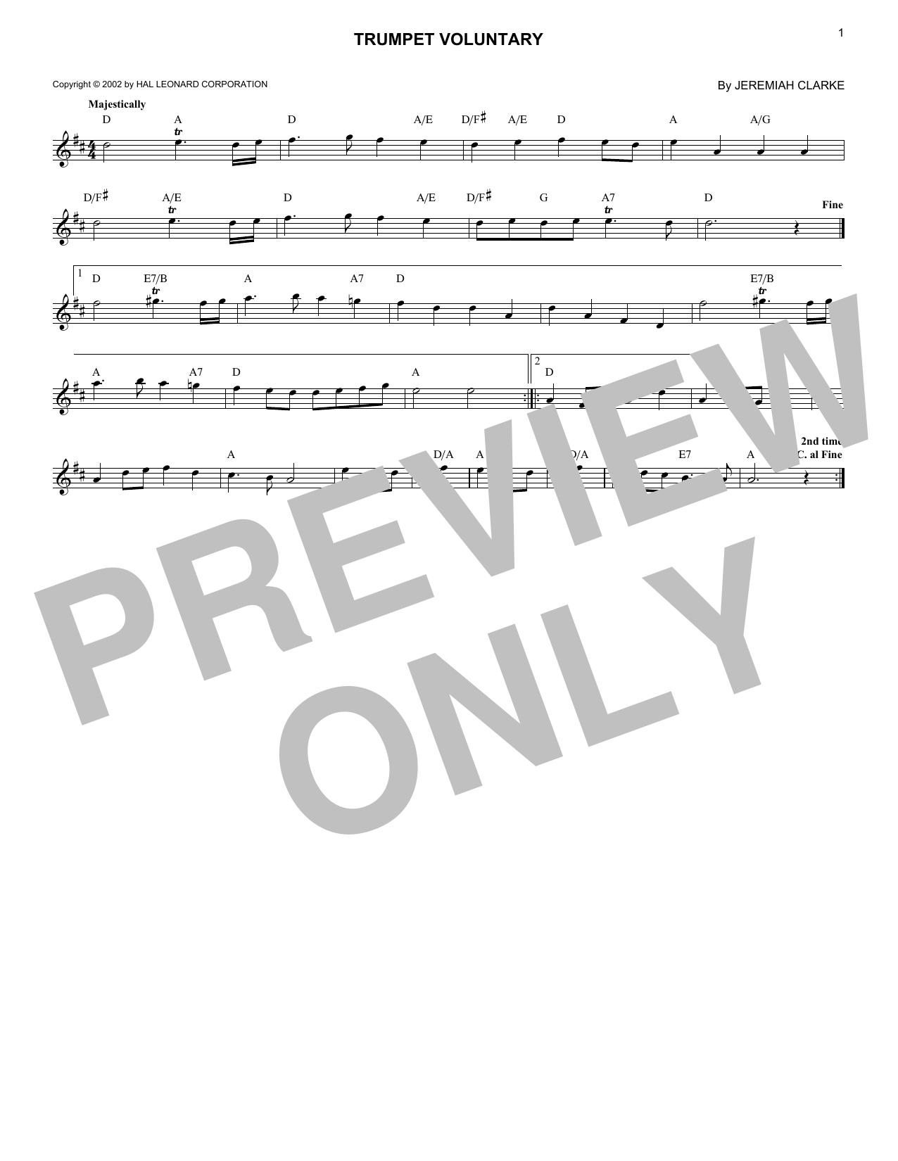 Trumpet Voluntary (Lead Sheet / Fake Book)