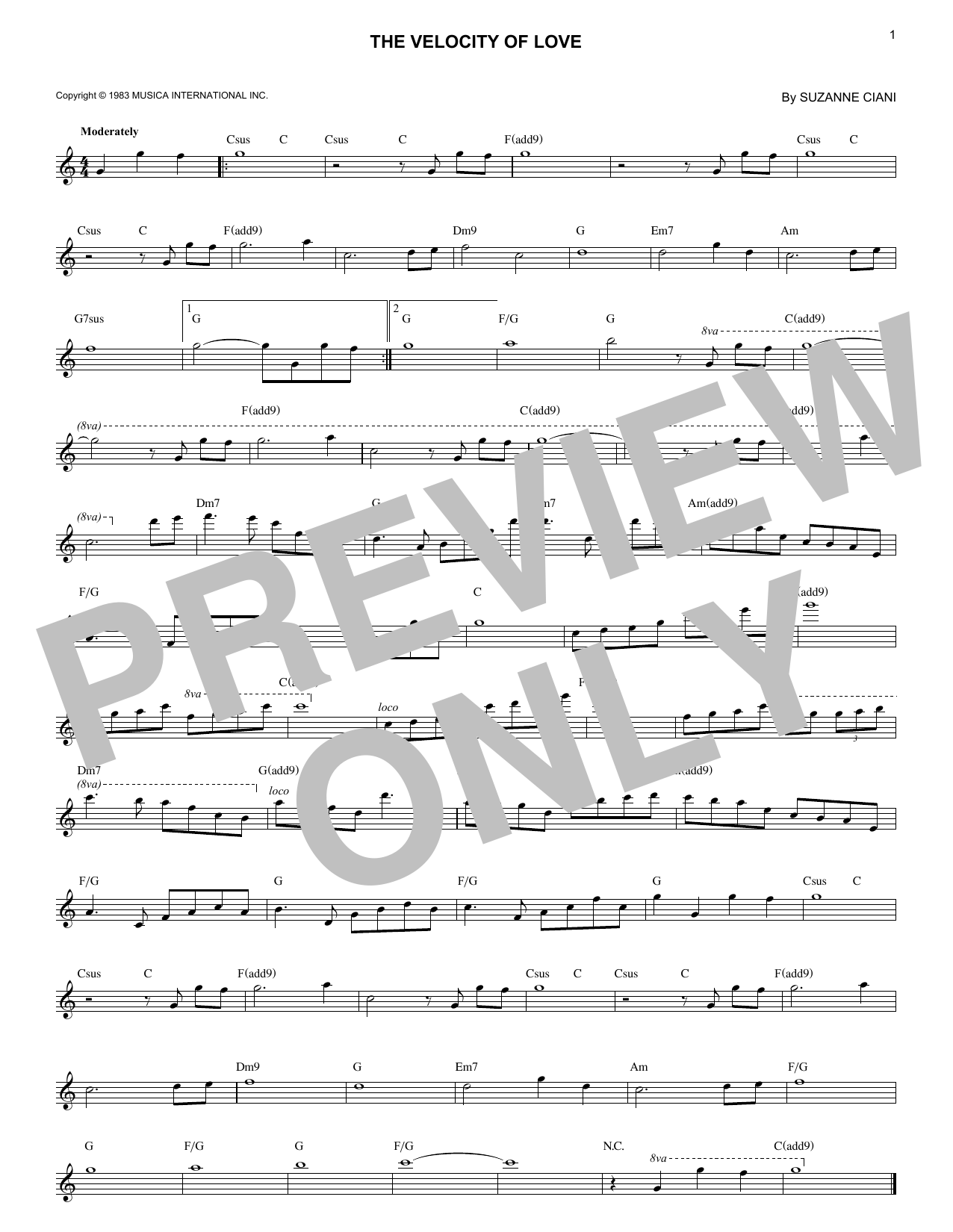 The Velocity Of Love (Lead Sheet / Fake Book)