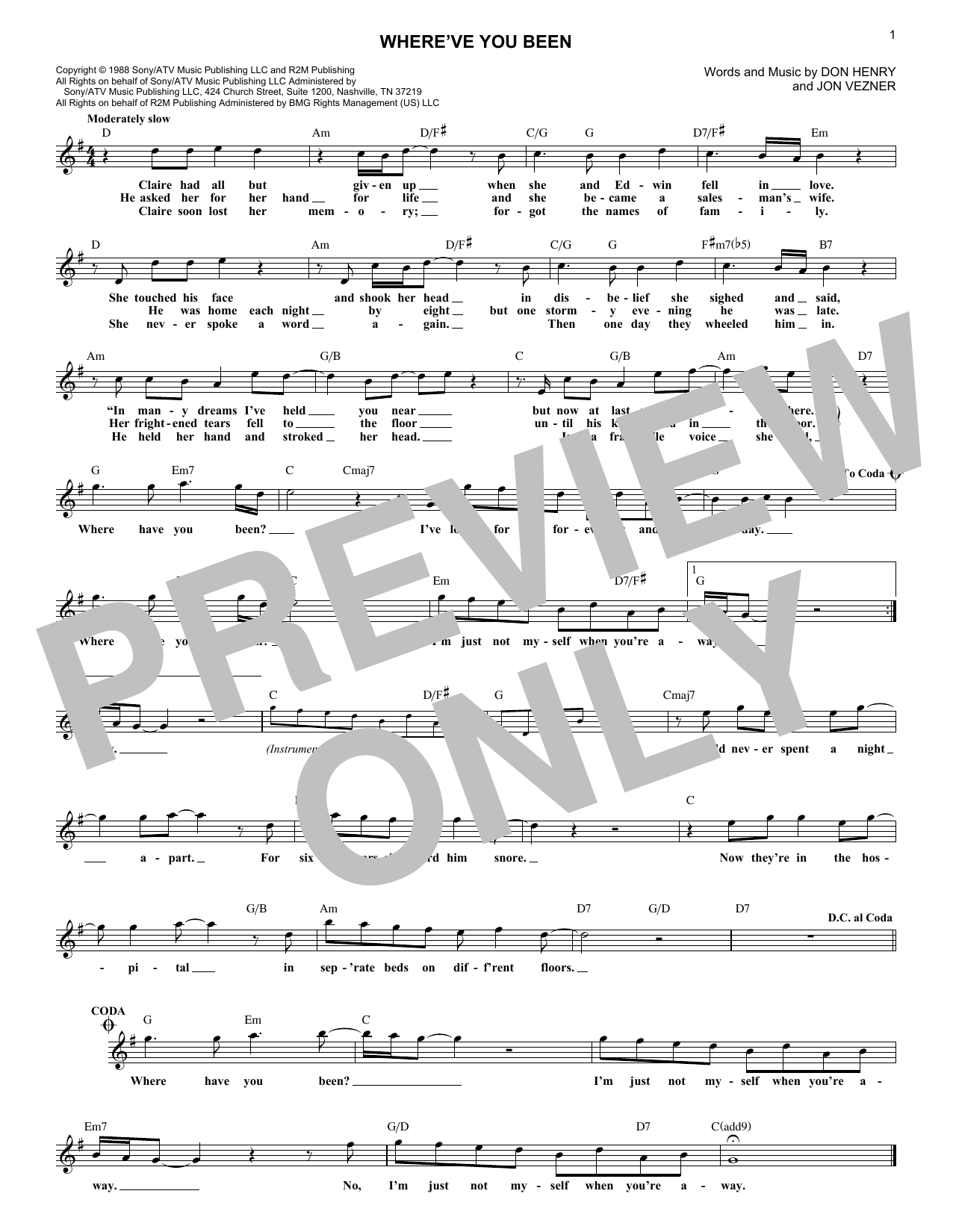 Where've You Been (Lead Sheet / Fake Book)