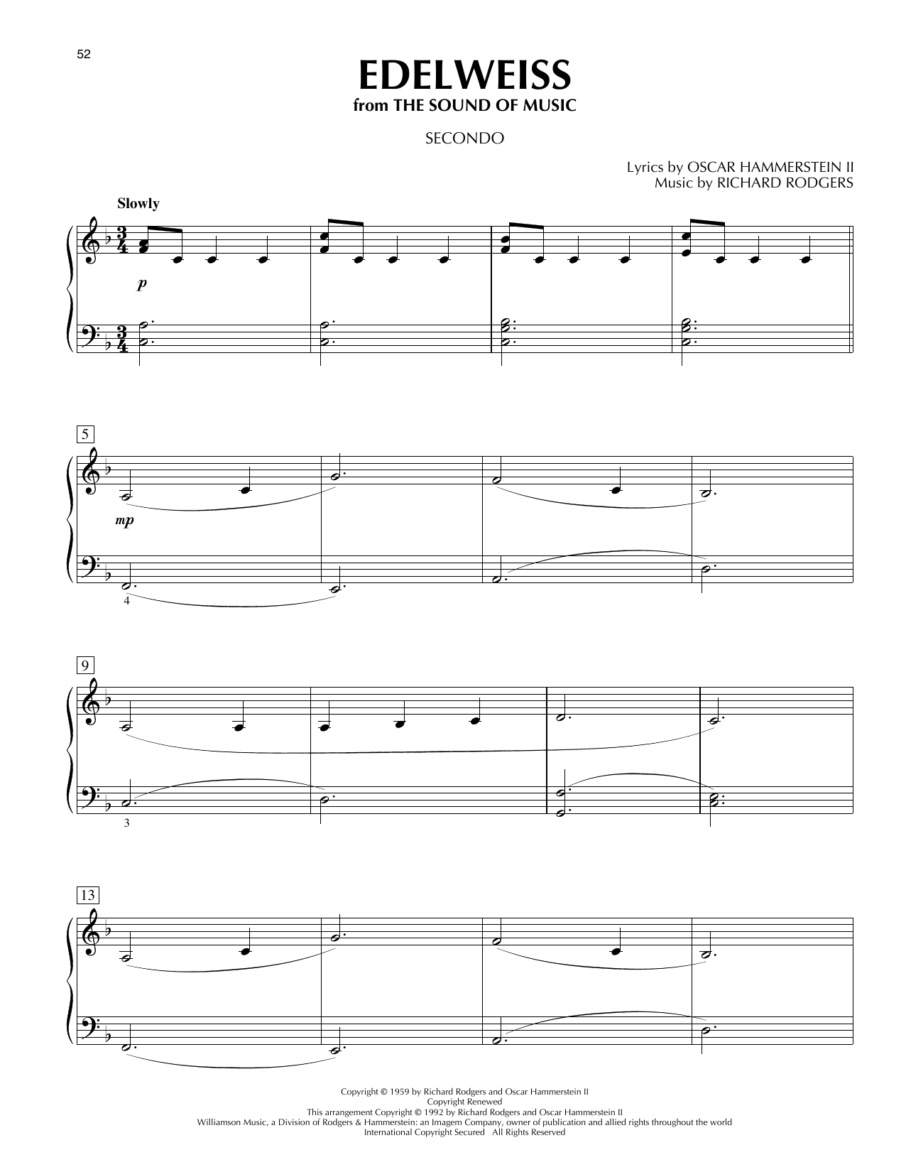 Edelweiss (from The Sound Of Music) (Piano Duet)