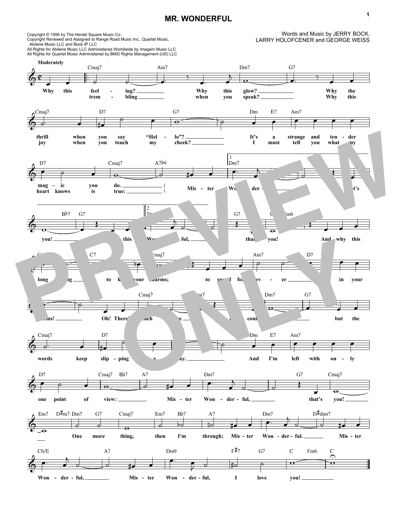 Mr. Wonderful (Lead Sheet / Fake Book)