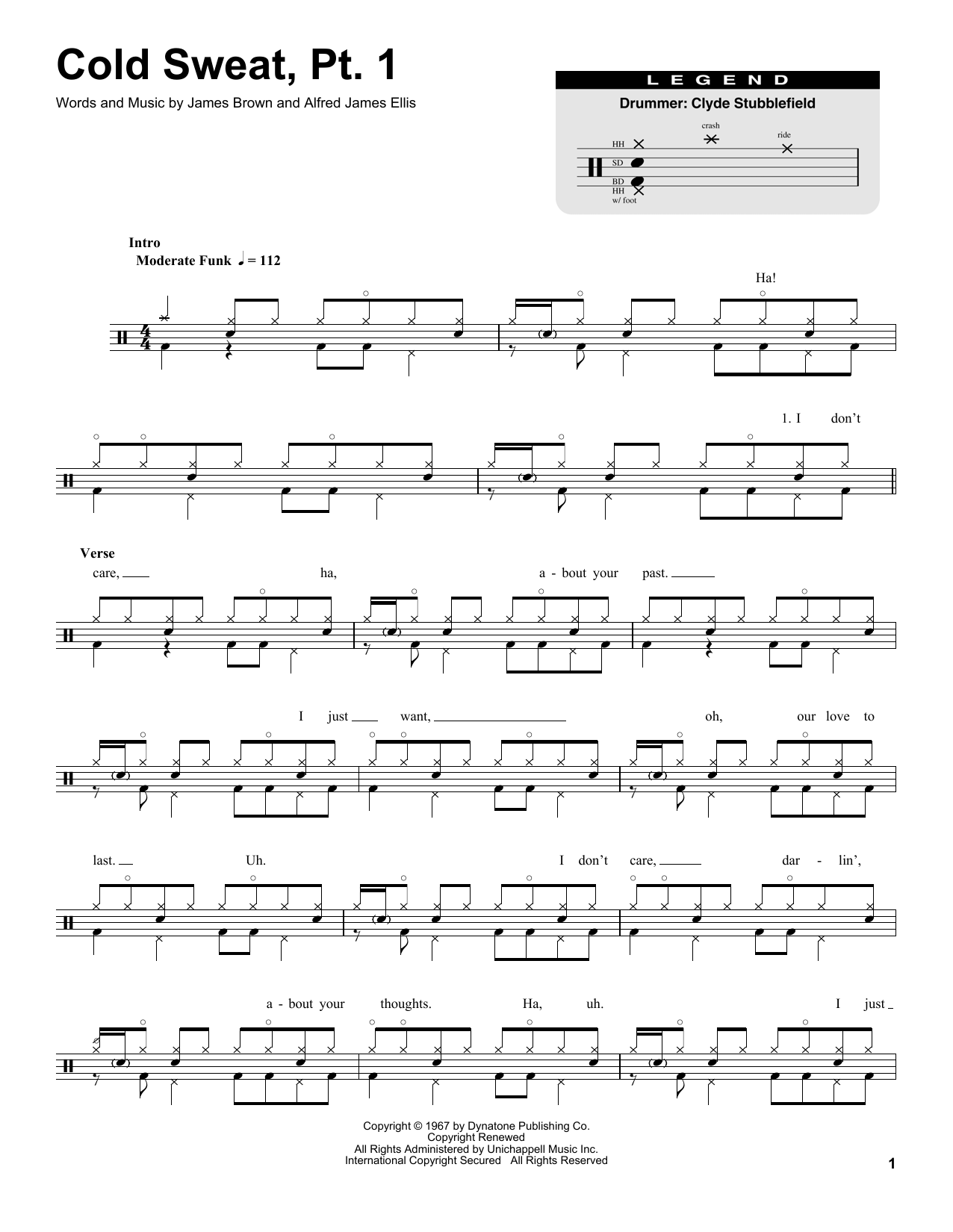 Cold Sweat, Pt. 1 (Drums Transcription)