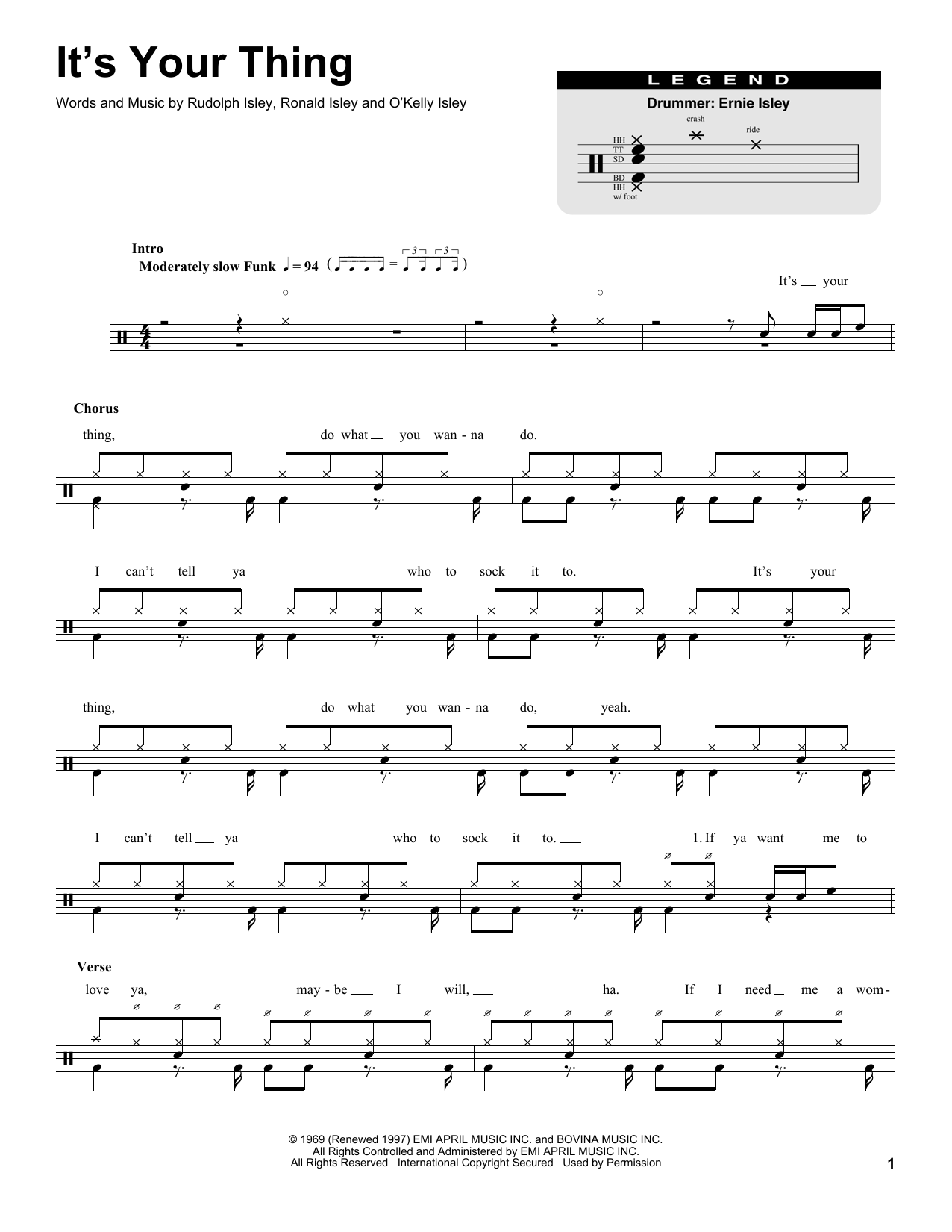 It's Your Thing Sheet Music