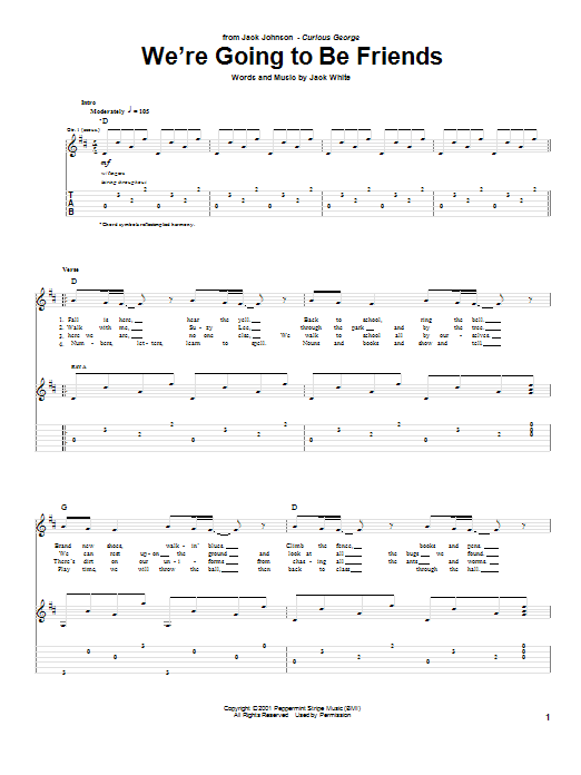 We're Going To Be Friends (Guitar Tab)