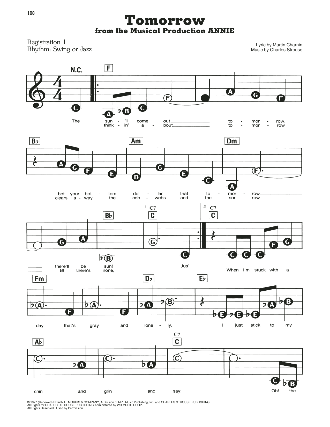 Tomorrow Sheet Music