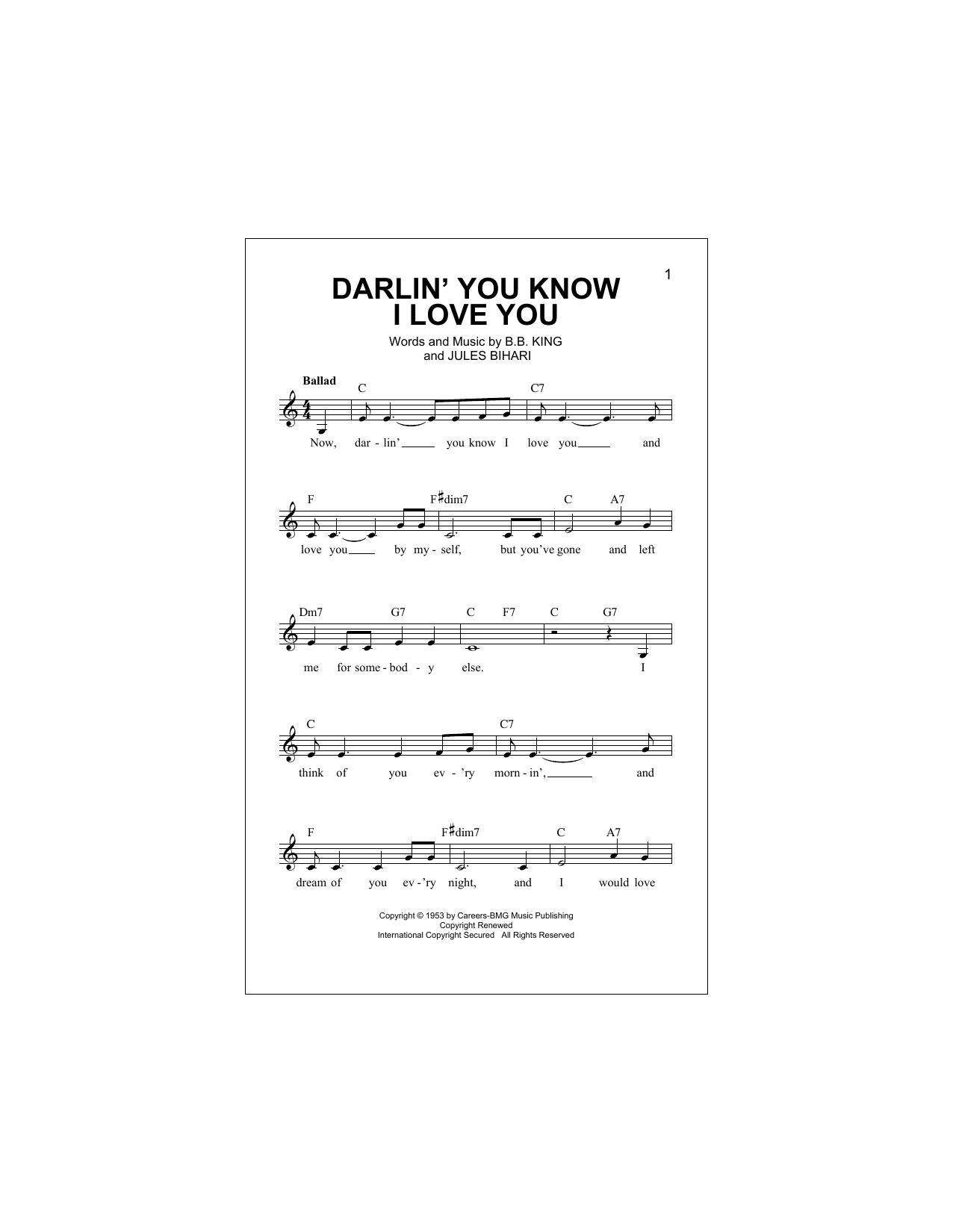 Darlin' You Know I Love You Sheet Music