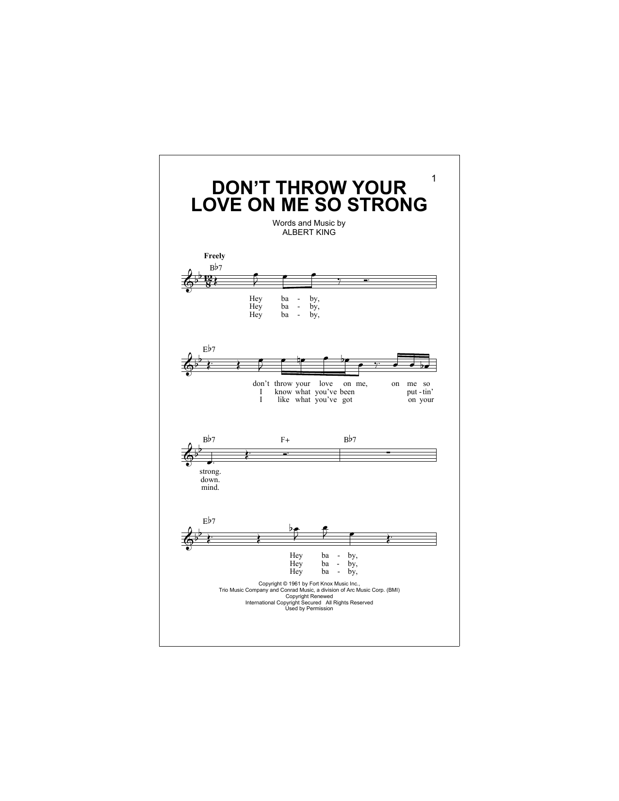 Don't Throw Your Love On Me So Strong (Lead Sheet / Fake Book)