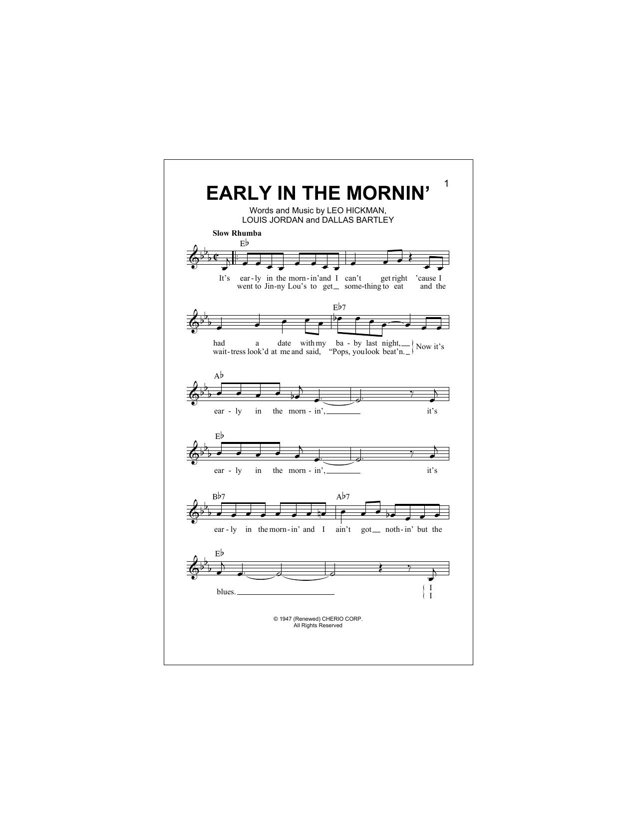 Early In The Mornin' (Lead Sheet / Fake Book)