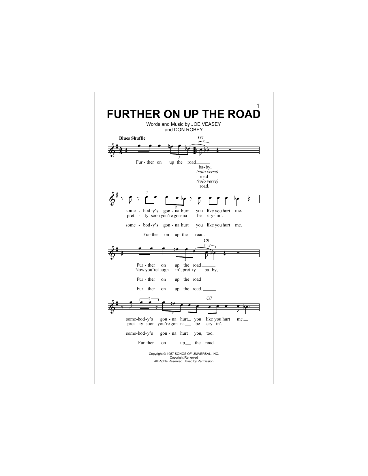 Further On Up The Road (Lead Sheet / Fake Book)