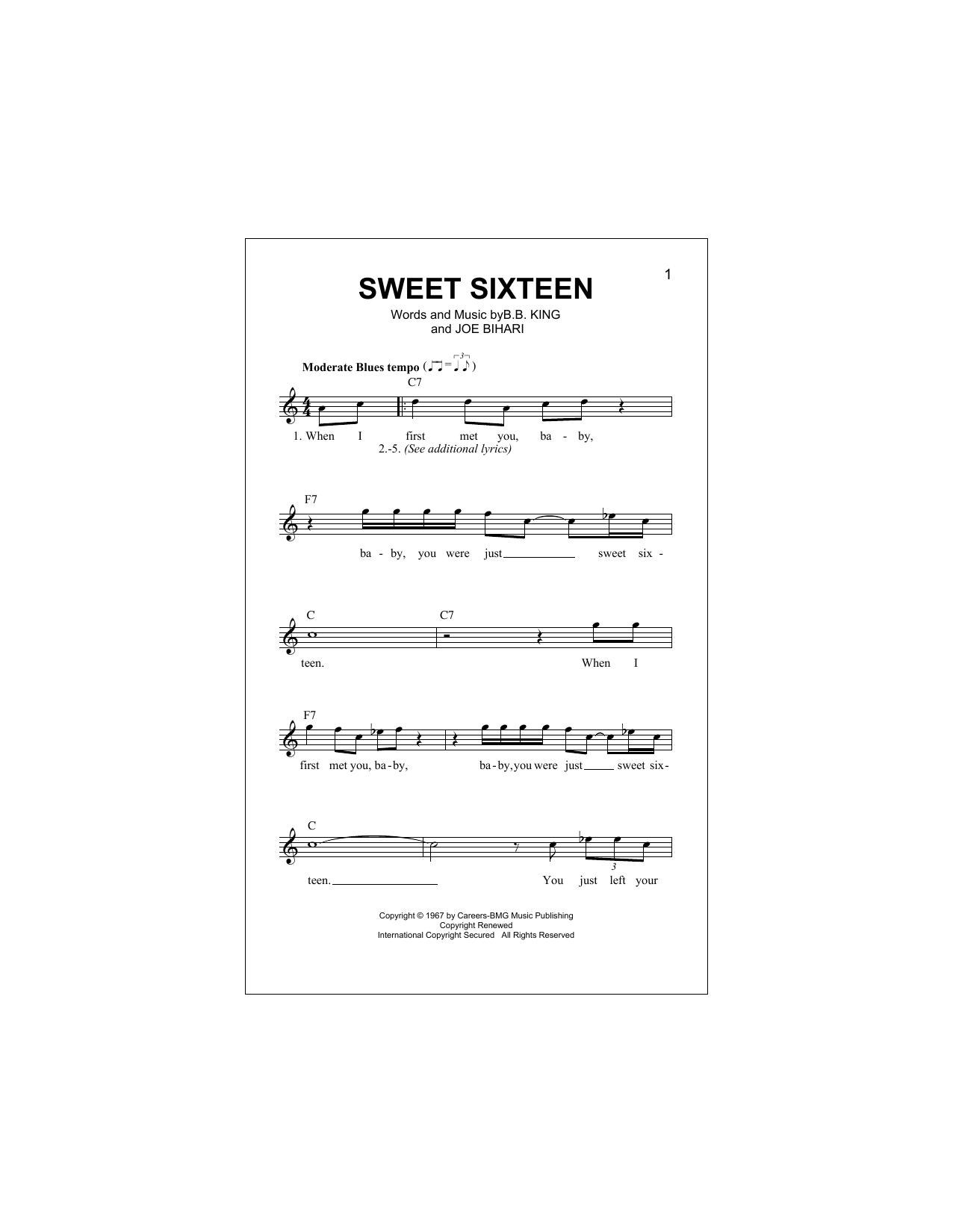 Sweet Sixteen (Lead Sheet / Fake Book)