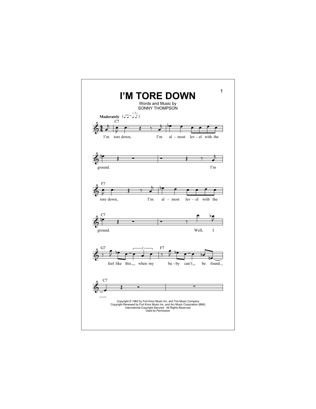 I'm Tore Down Sheet Music